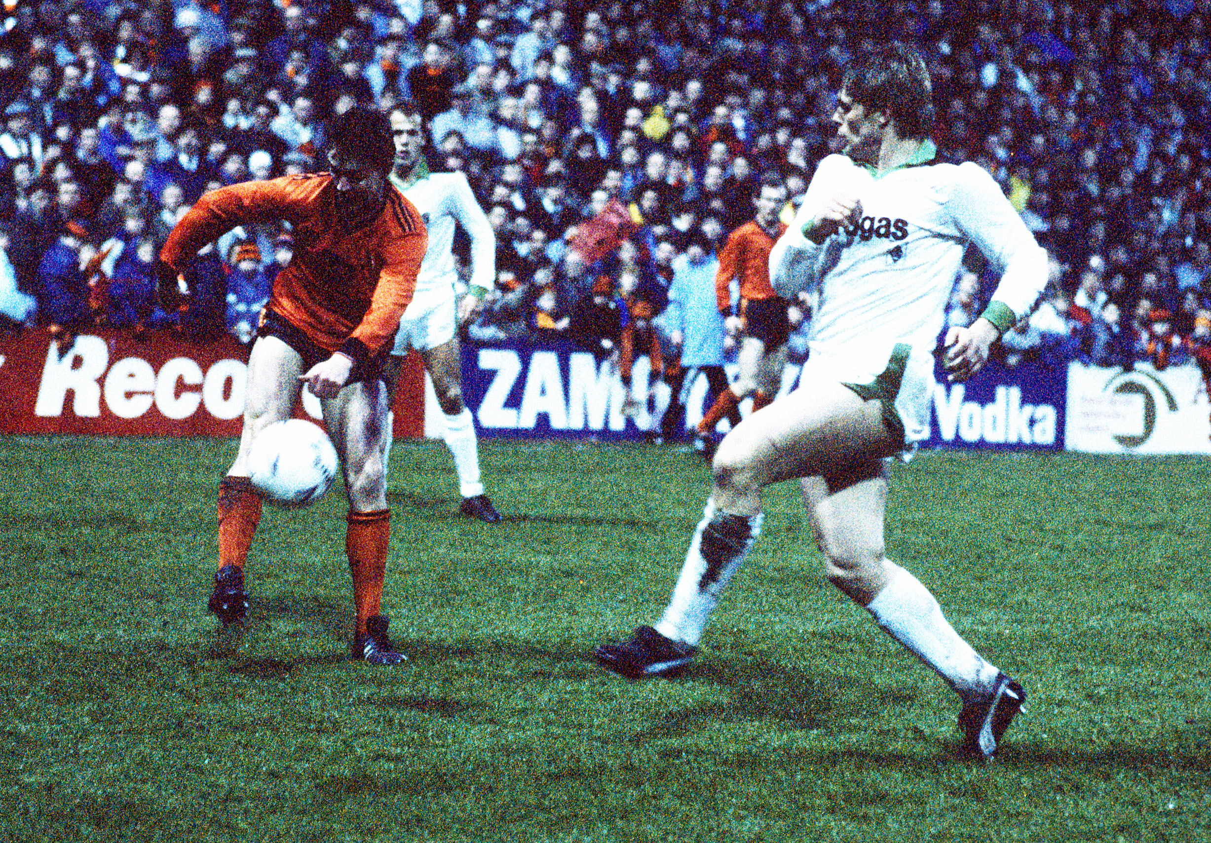 Pictures taken from United's semi-final clash with German side Gladbach on April 8 1987