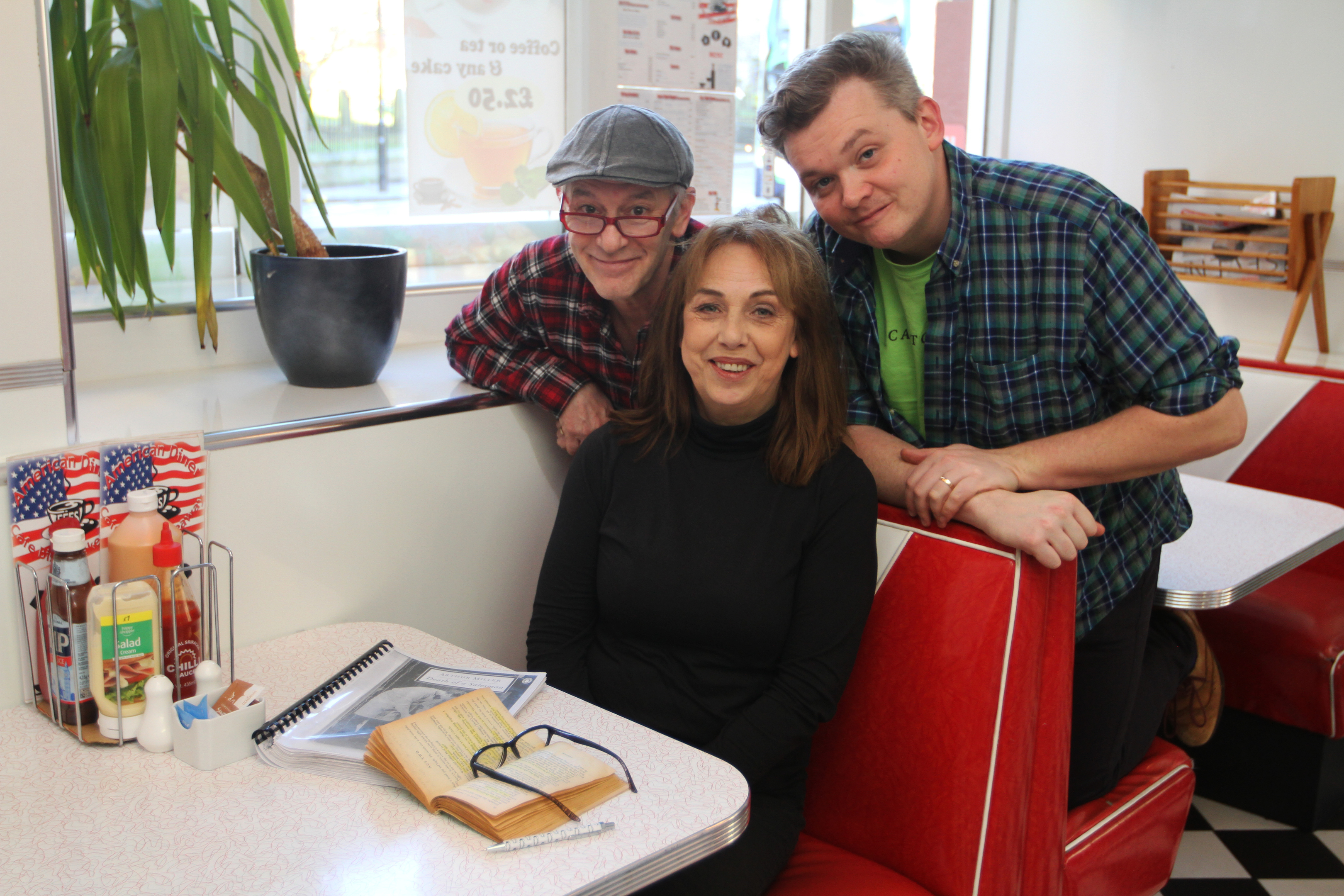 Irene Macdougall (playing Linda, front) and back row Billy Mack (playing Willy) and director Joe Douglas.