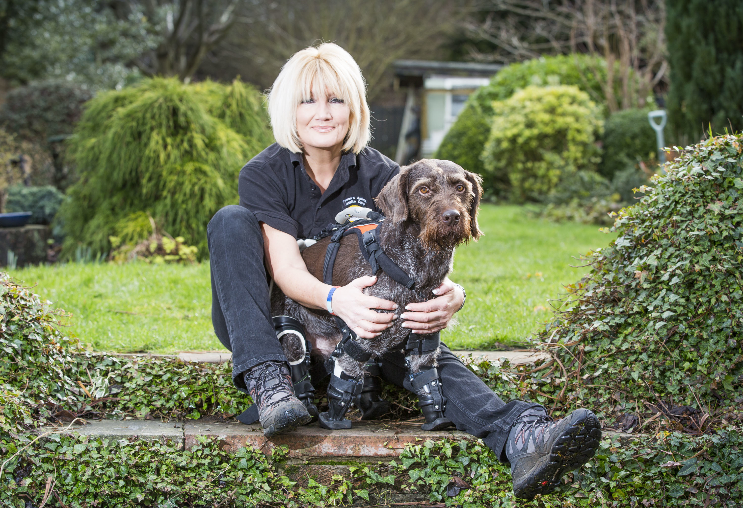 Fife's bionic dog Dillon with owner Lyn Johnston.