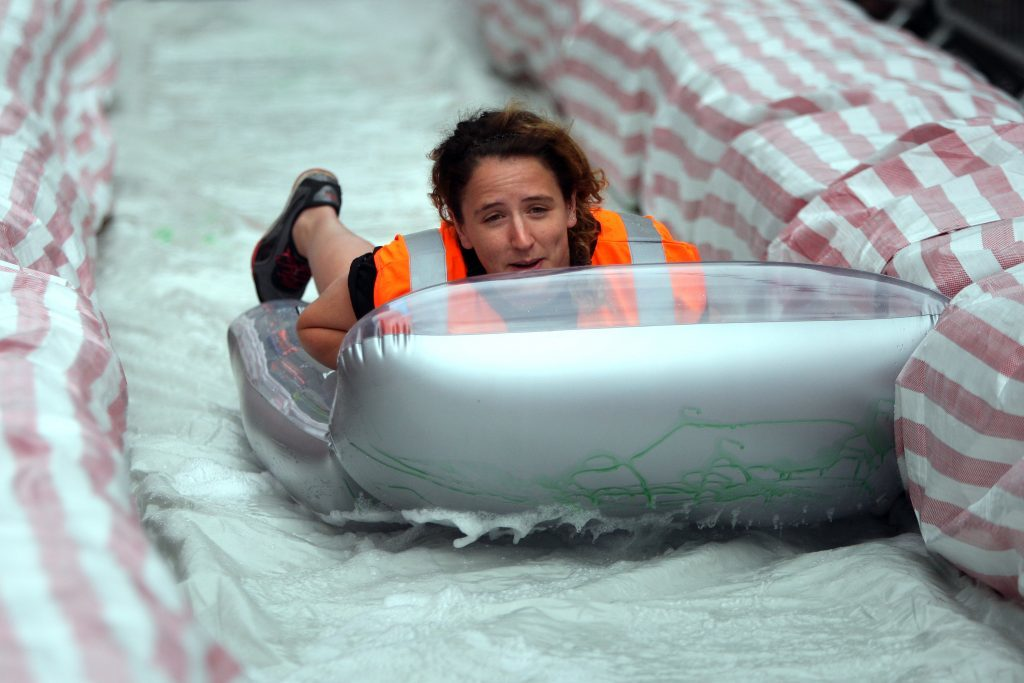 Brechin councillor Mairi Evans was first down the slide in 2014