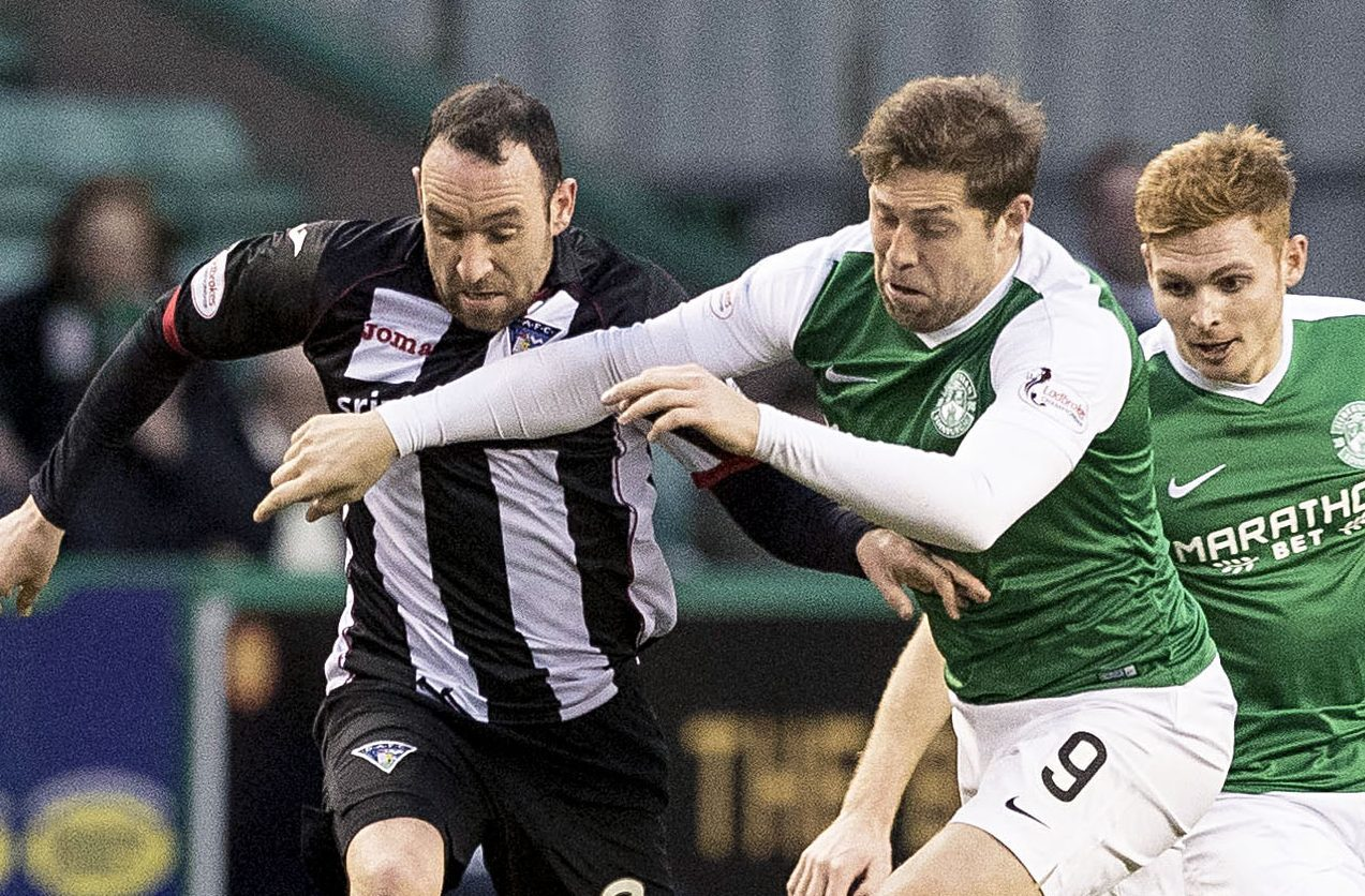 Michael Moffat in action against Hibs.