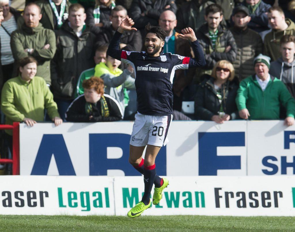 Faissal El Bakhtaoui celebrates after scoring against Celtic.