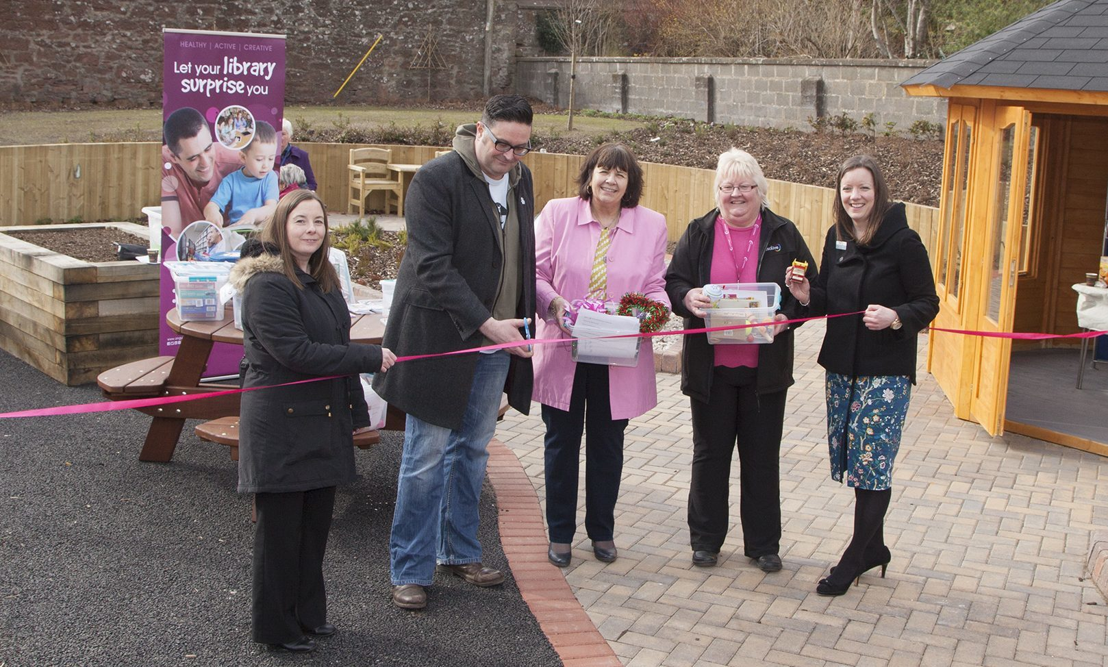 From left: Lindsay Shaw of Alzheimer Scotland, Graham Galloway of Kirriemuir Connections, Amanda Kopel, Christine Sharp of ANGUSalive and Kirsty Shaw, chief executive of ANGUSalive.