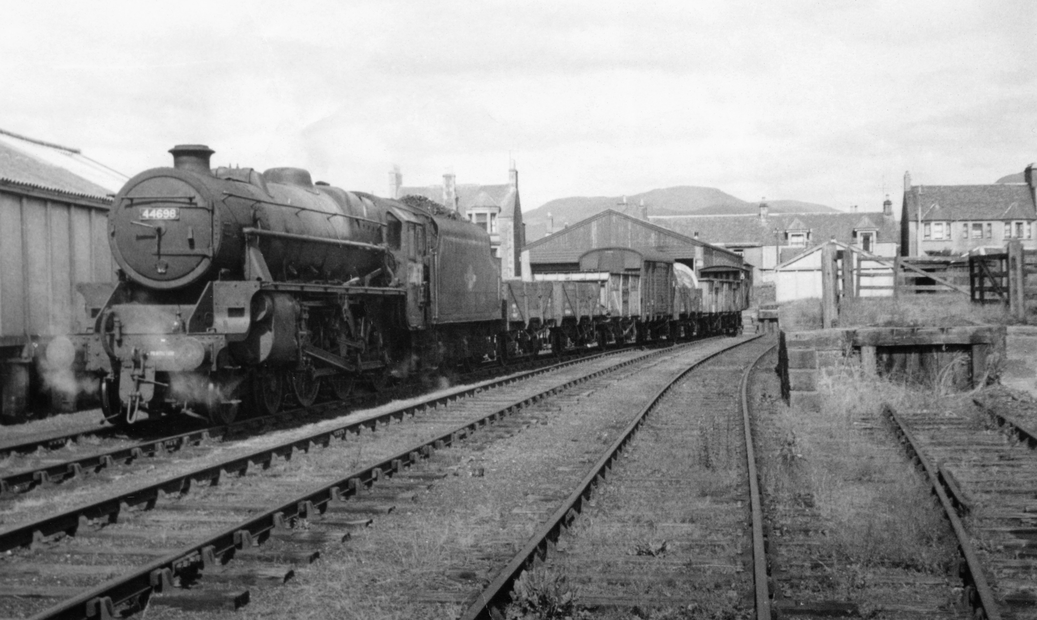 A train being shunted in the Crieff yard in the mid 60s.