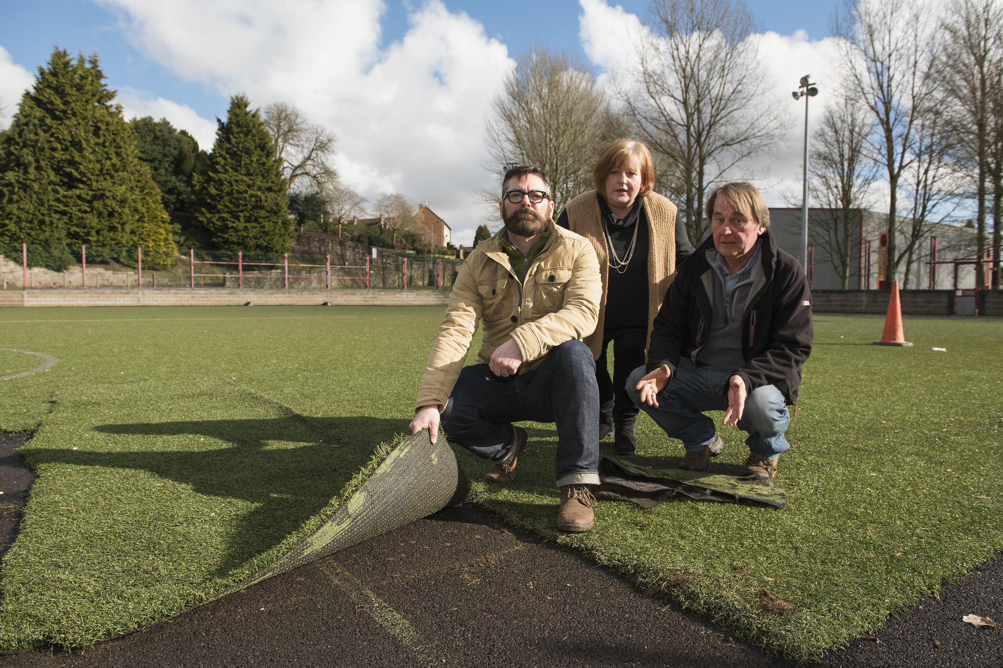 Mark Arbuthnott (left) and George Garden of IMPS with Jill Scott at  Inch Park, Brechin.