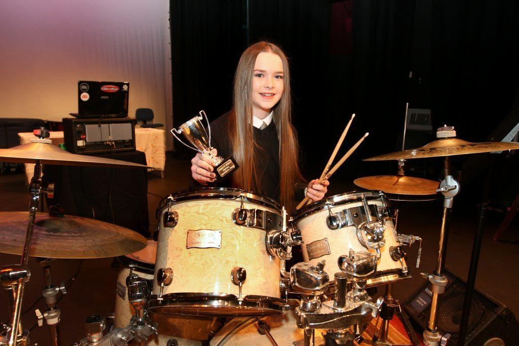 Class 102 drumkit winner Ami Conchie from Carnoustie High School