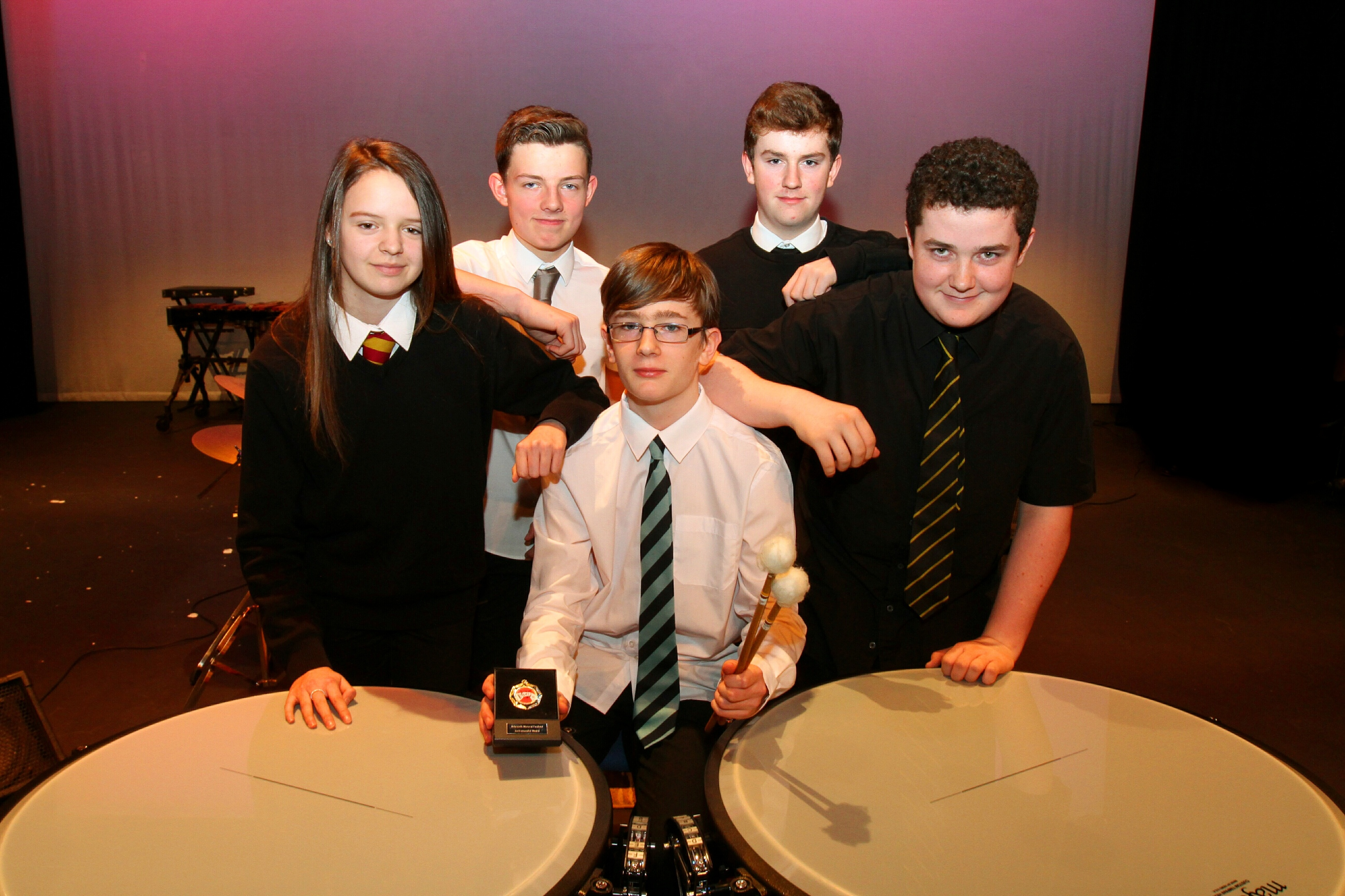 Class 109 timpani featuring Sam Ramsay  from Webster's HS (seated) with Ryan Cull of Arbroath Academy, Zoe McLachlan of Montrose Academy, Josh Craigie from Carnoustie HS and Callum Phillip, Arbroath Academy.