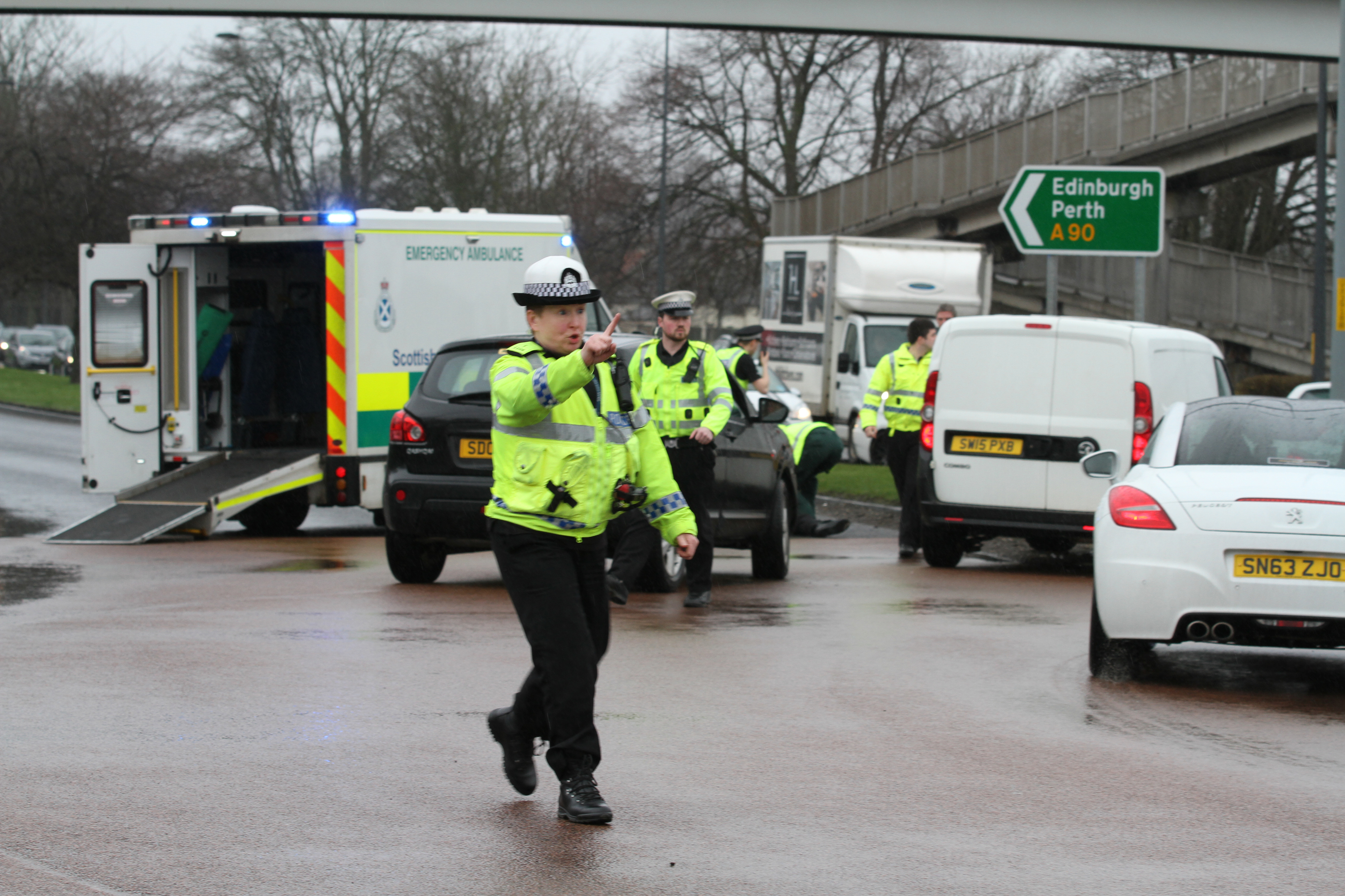 Traffic officers at the scene