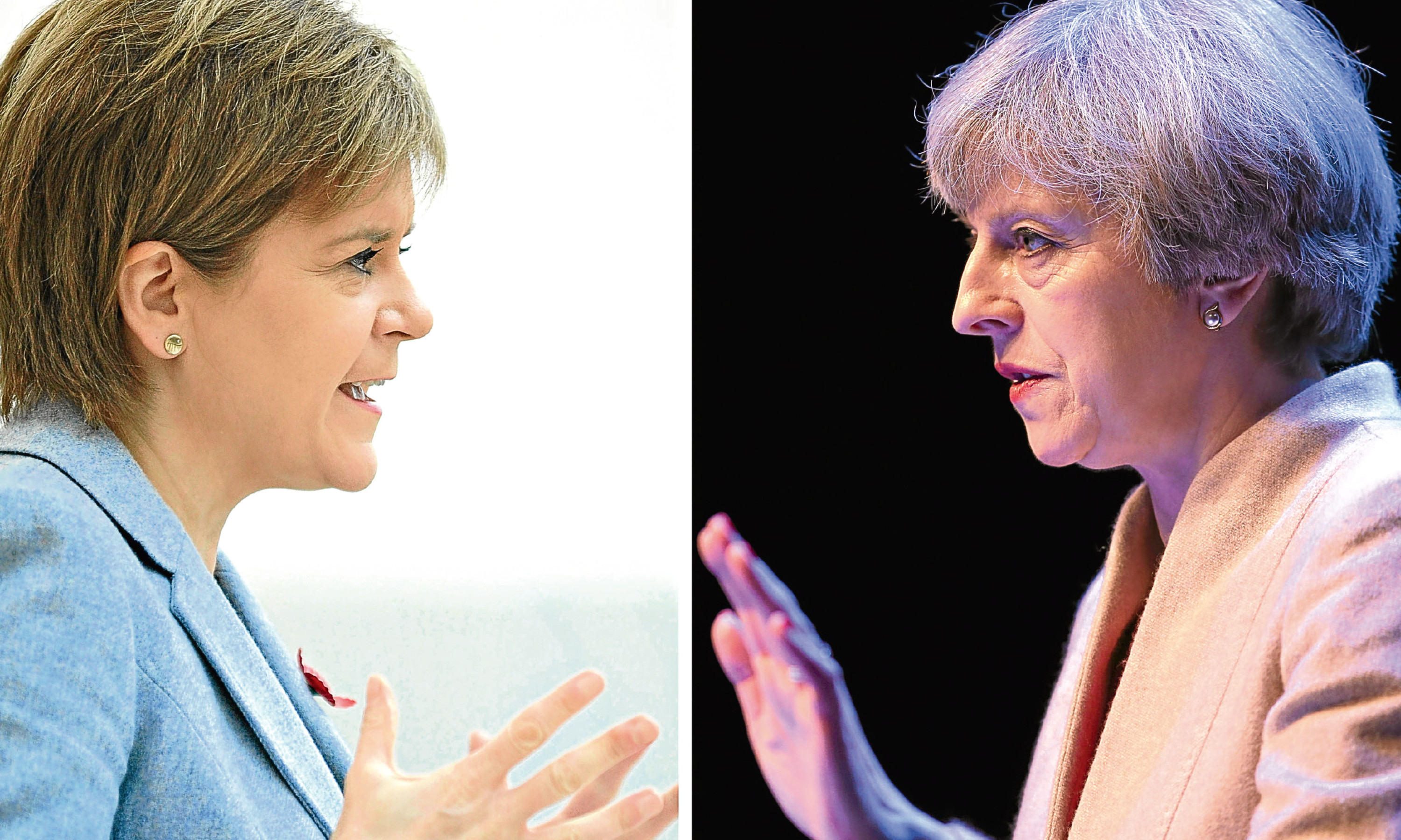 First Minister Nicola Sturgeon, left, and Prime Minister Theresa May.