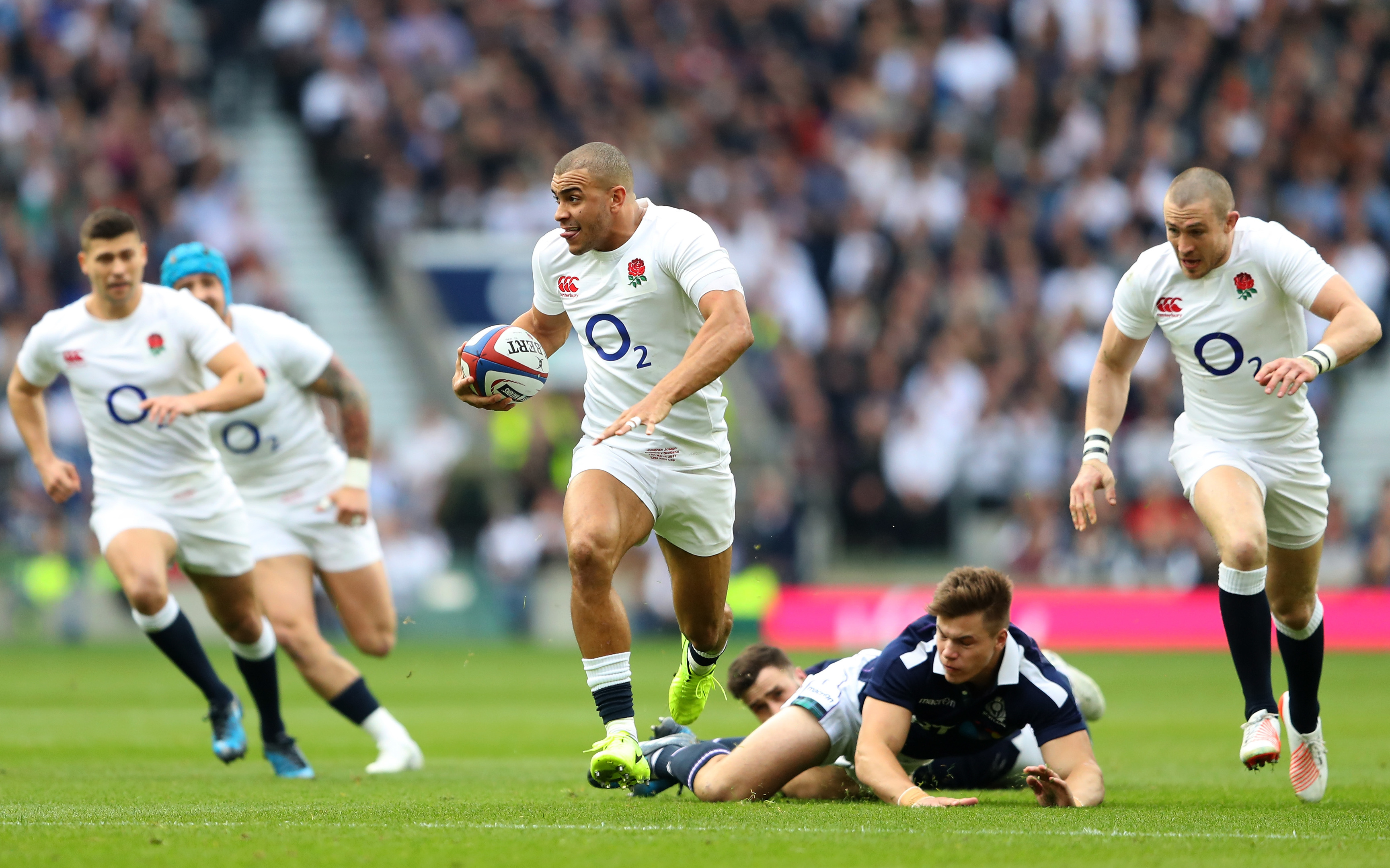 Jonathan Joseph goes through for England's first try in the Calcutta Cup match at Twickenham.