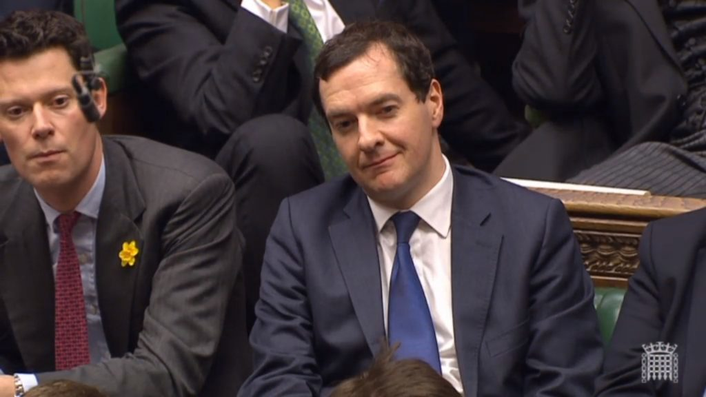 Former Chancellor George Osborne looks on as Philip Hammond has the House of Commons chuckling.