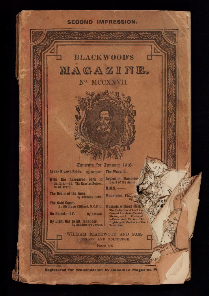 Blackwood's-magazine-with-WWI-bullet-hole
