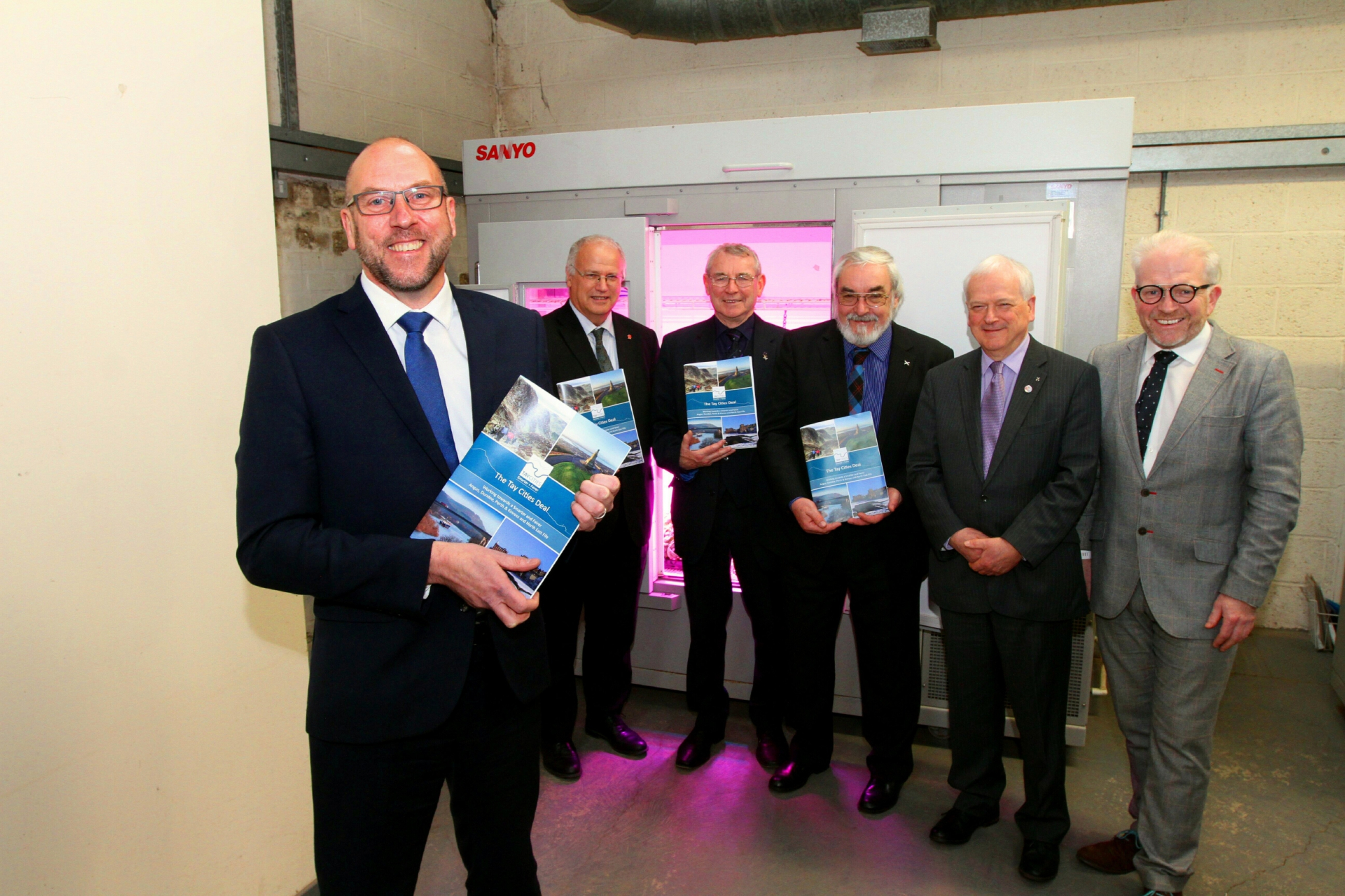 David Littlejohn, head of the Tay Cities Deal at the James Hutton Institute where the Submission document was launched, with David Ross of Fife Council, Ken Guild Dundee City council, Iain Gaul of Angus council , Ian Miller of Perth and Kinross,and Ellis Watson of DC Thomson.