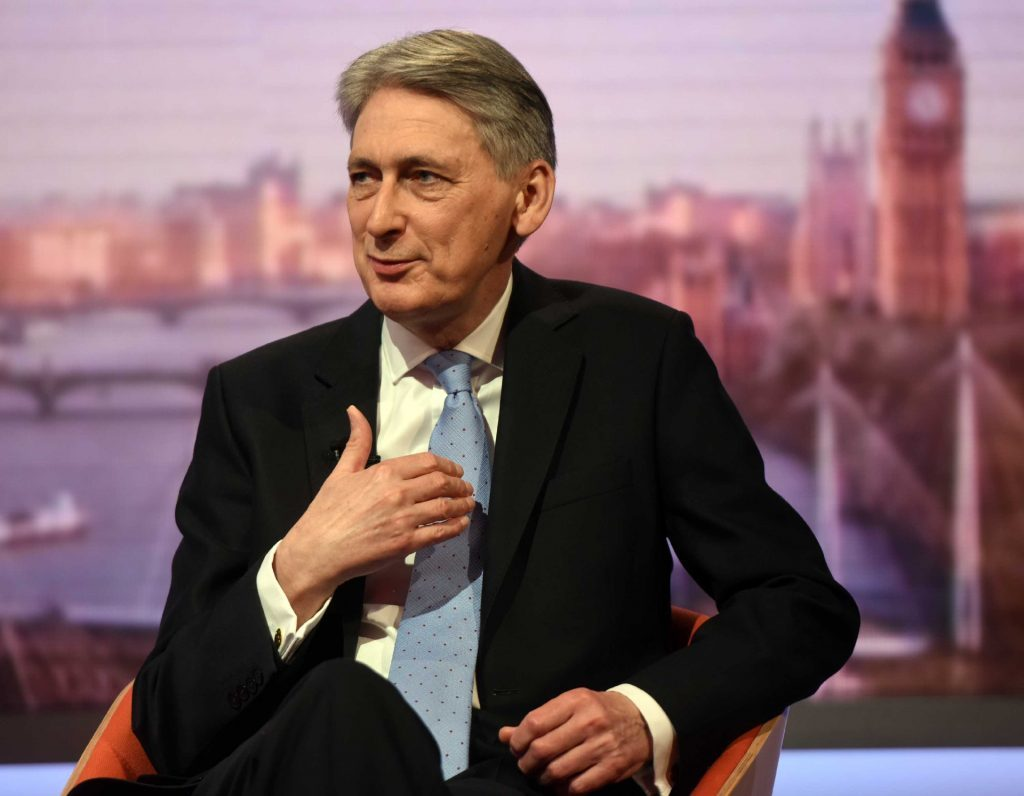 """LONDON, ENGLAND - MARCH 5: (NO SALE/NO ARCHIVE) In this handout image provided by the BBC, Chancellor of the Exchequer Philip Hammond appears on The Andrew Marr Show on March 5, 2017 in London, England. (Photo by Jeff Overs/BBC via Getty Images) Warning: Use of this copyright image is subject to Terms of Use of BBC Digital Picture Service. In particular, this image may only be used during the publicity period for the purpose of publicising """"Andrew Marr Show"""" and provided the BBC is credited."""