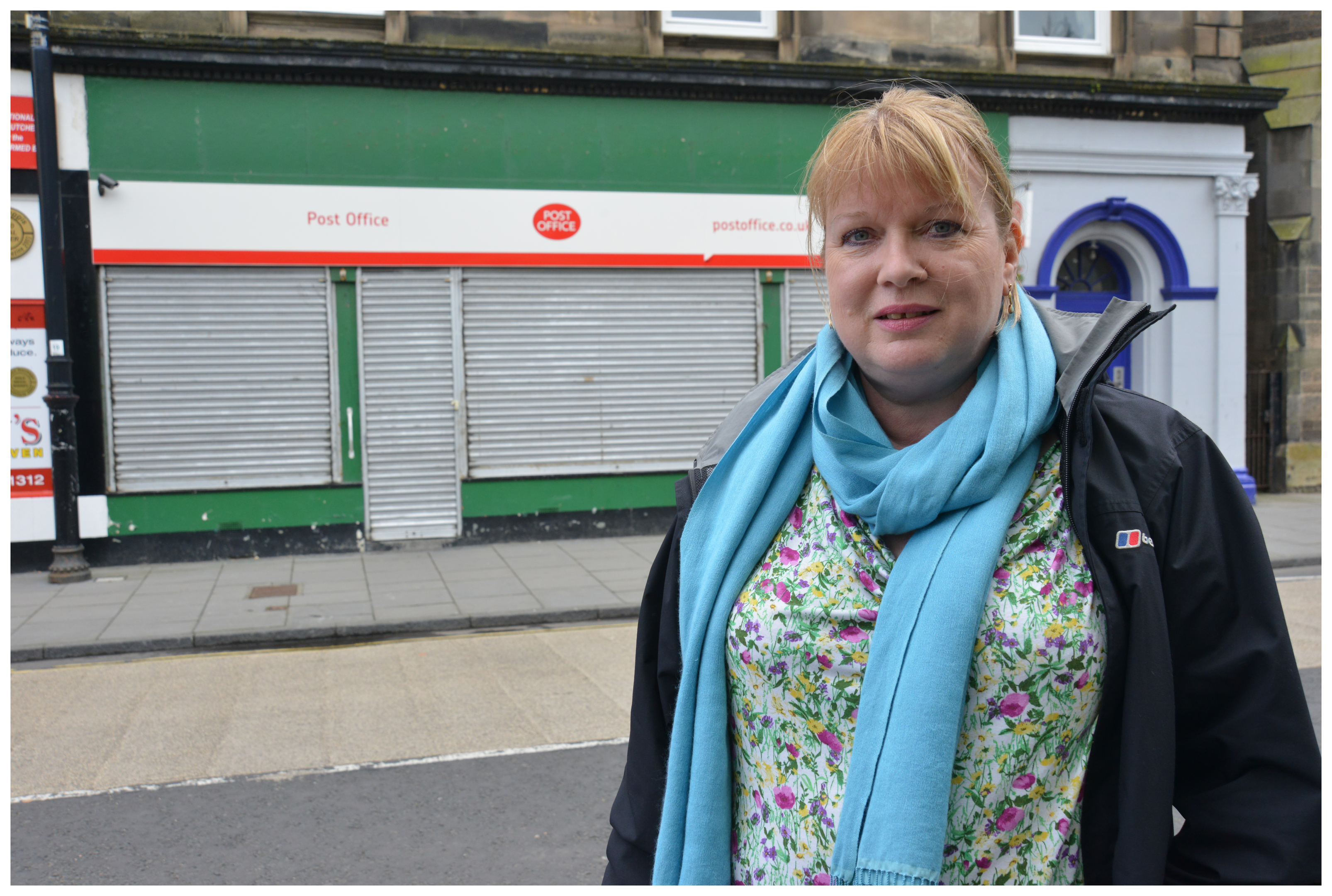 Councillor Susan Leslie outside the closed post office.