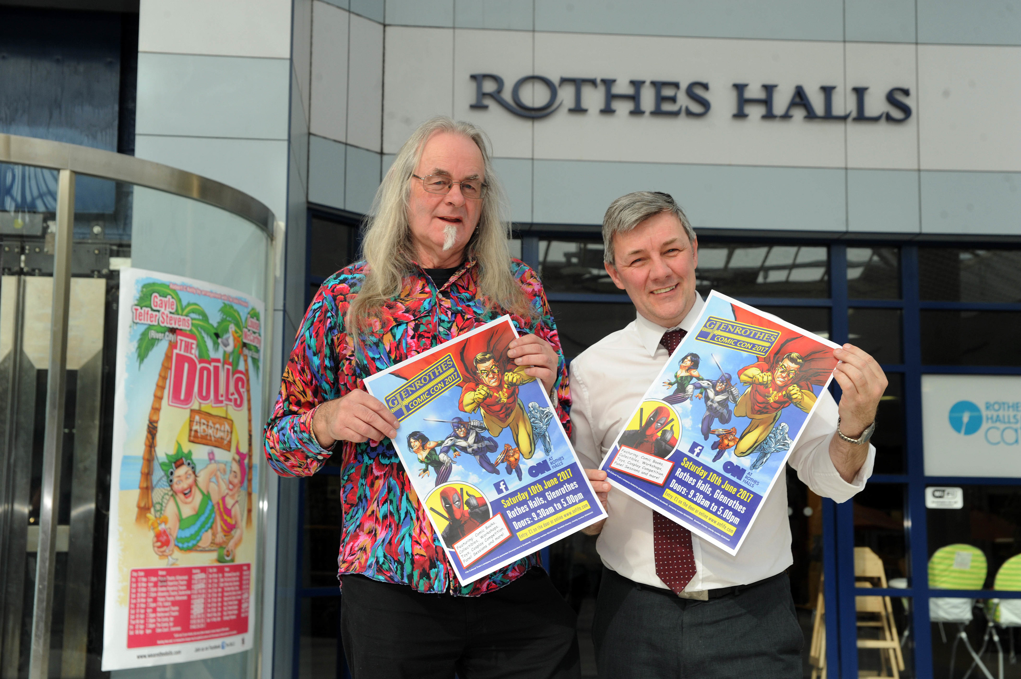 Michael Mowat and Altany Craik of Go Glenrothes at the Rothes Halls to promote Glenrothes Comic Con later this year.