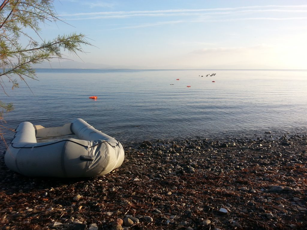 A light boat abandoned by refugees who successfully made the crossing from Turkey into Greece during 2016