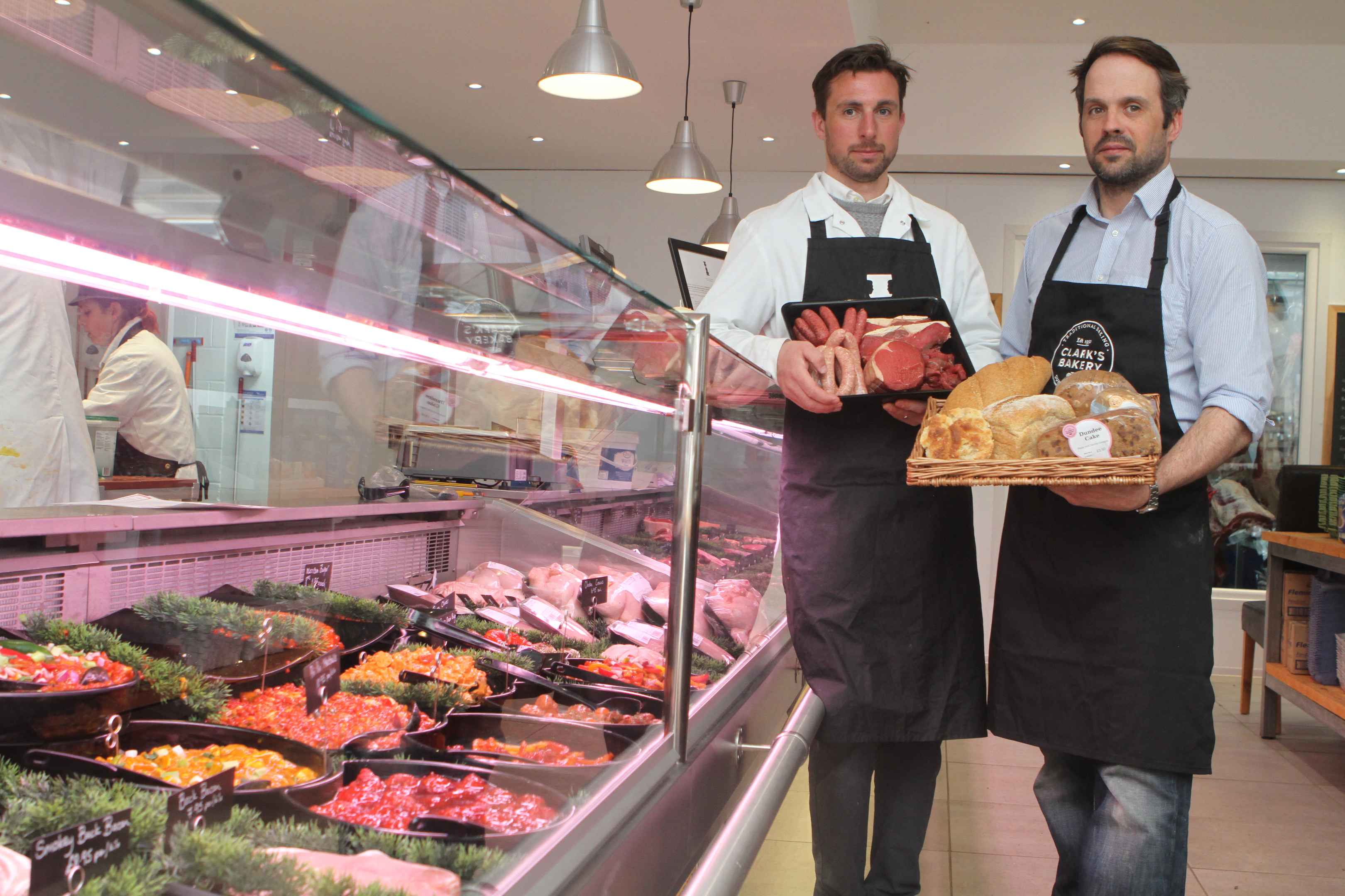Butchery manager David Webster and Johnathon Clark, owner of Clark's, at The Butcher The Baker.