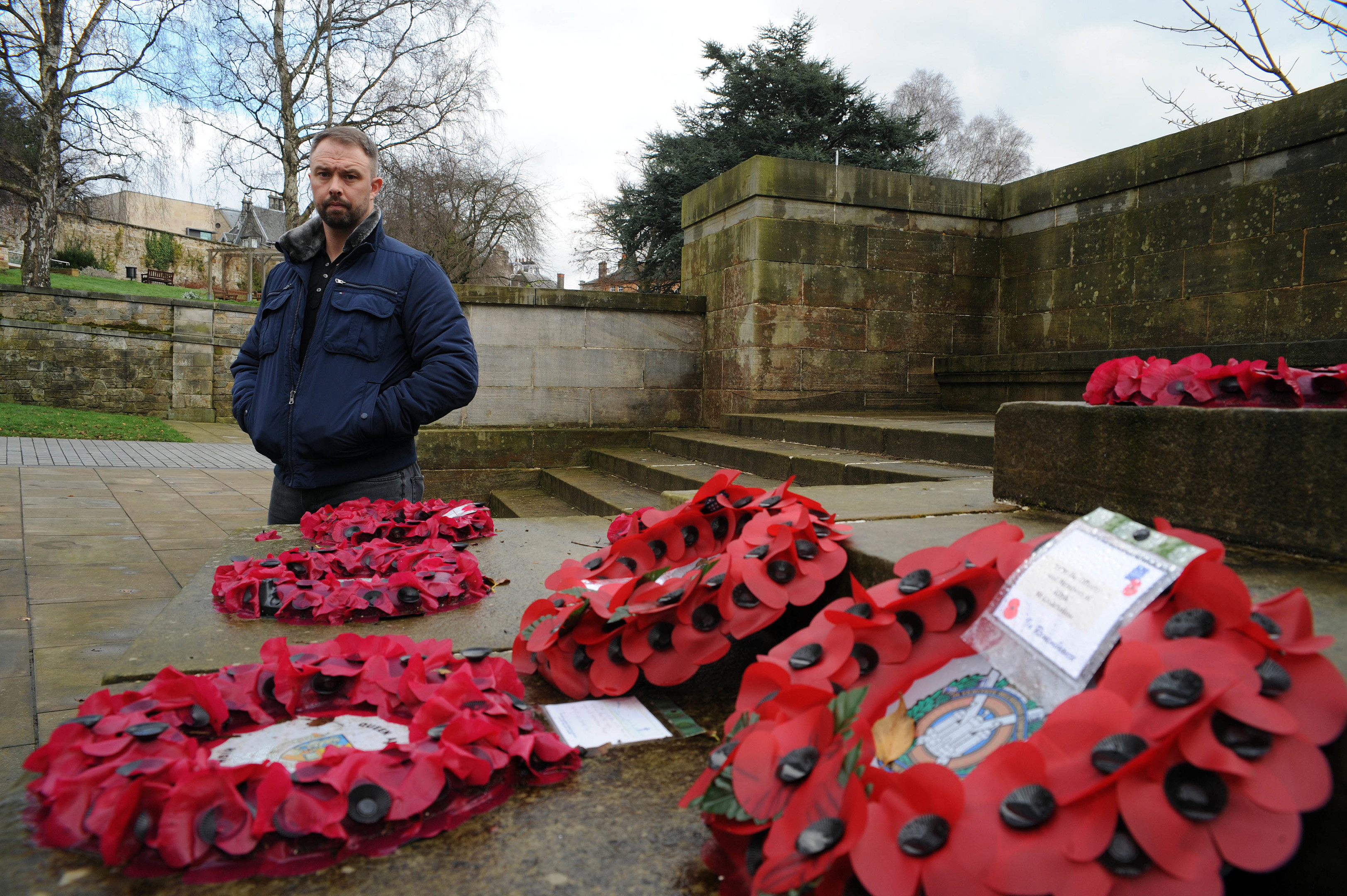 David Scott saw youngsters urinate on Dunfermline War Memorial before joining a gang of up to 60