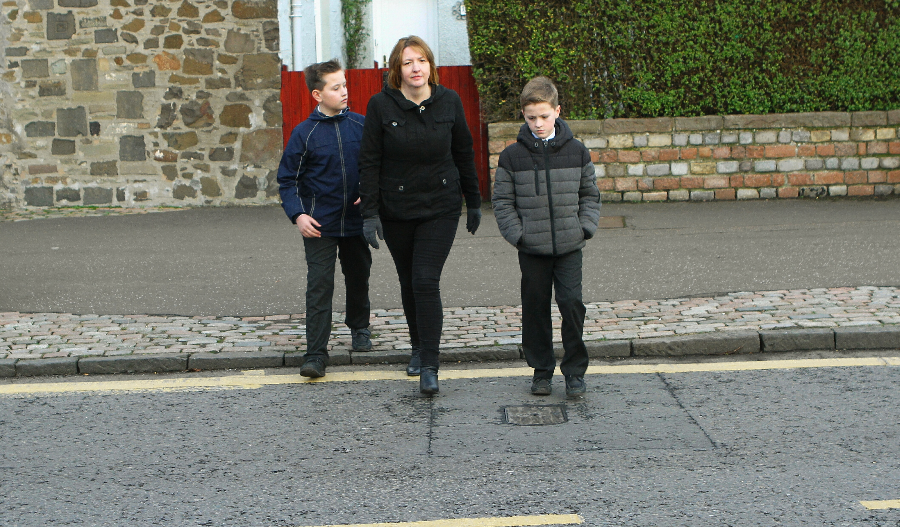 Angela believes busy Forthill Road must be recognised as an official crossing point.