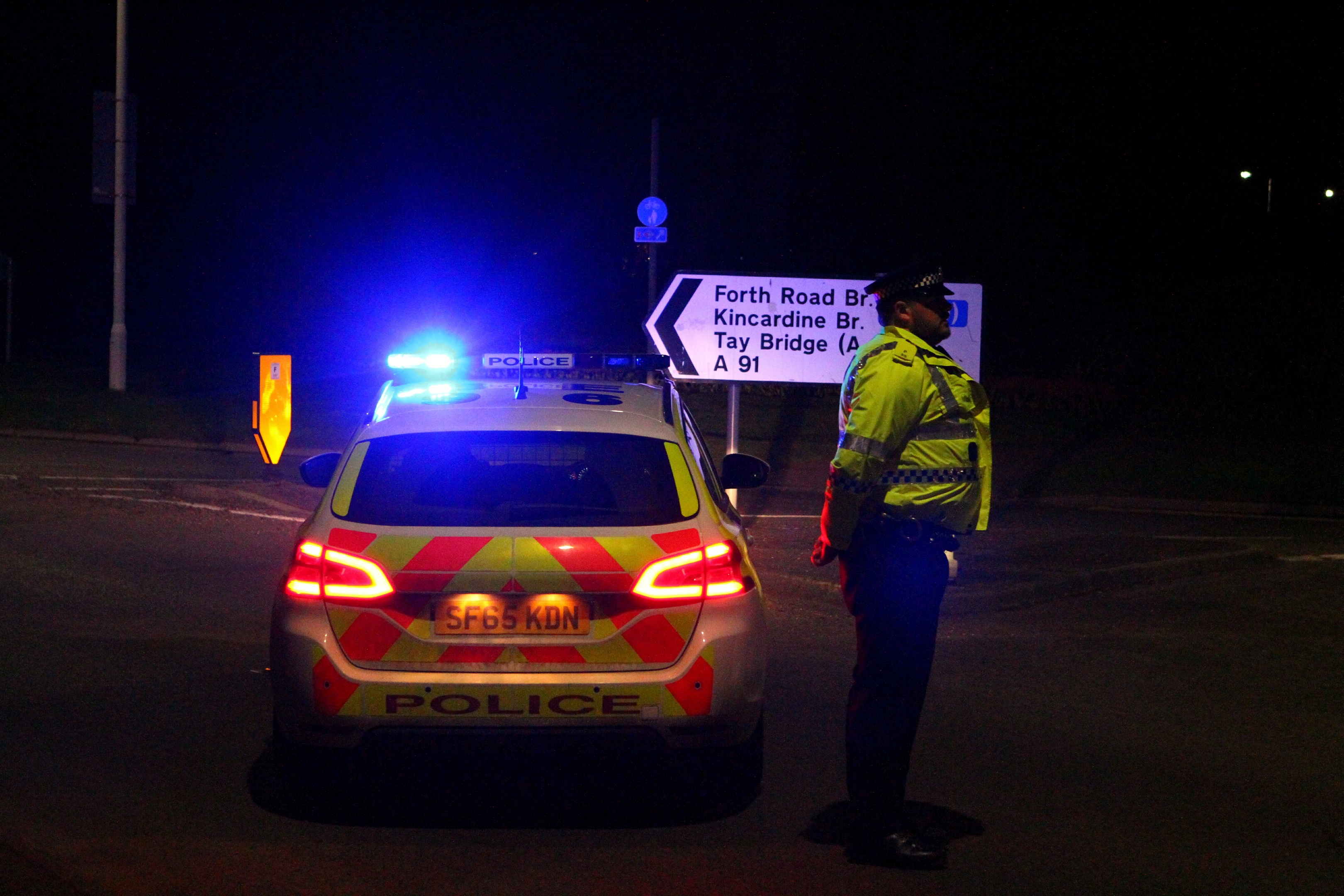 Courier News - Kirsty story - RTA - A91 - St. Andrews. Picture shows; the A91 closed just west of St. Andrews after the accident tonight. Thursday 9th March 2017.