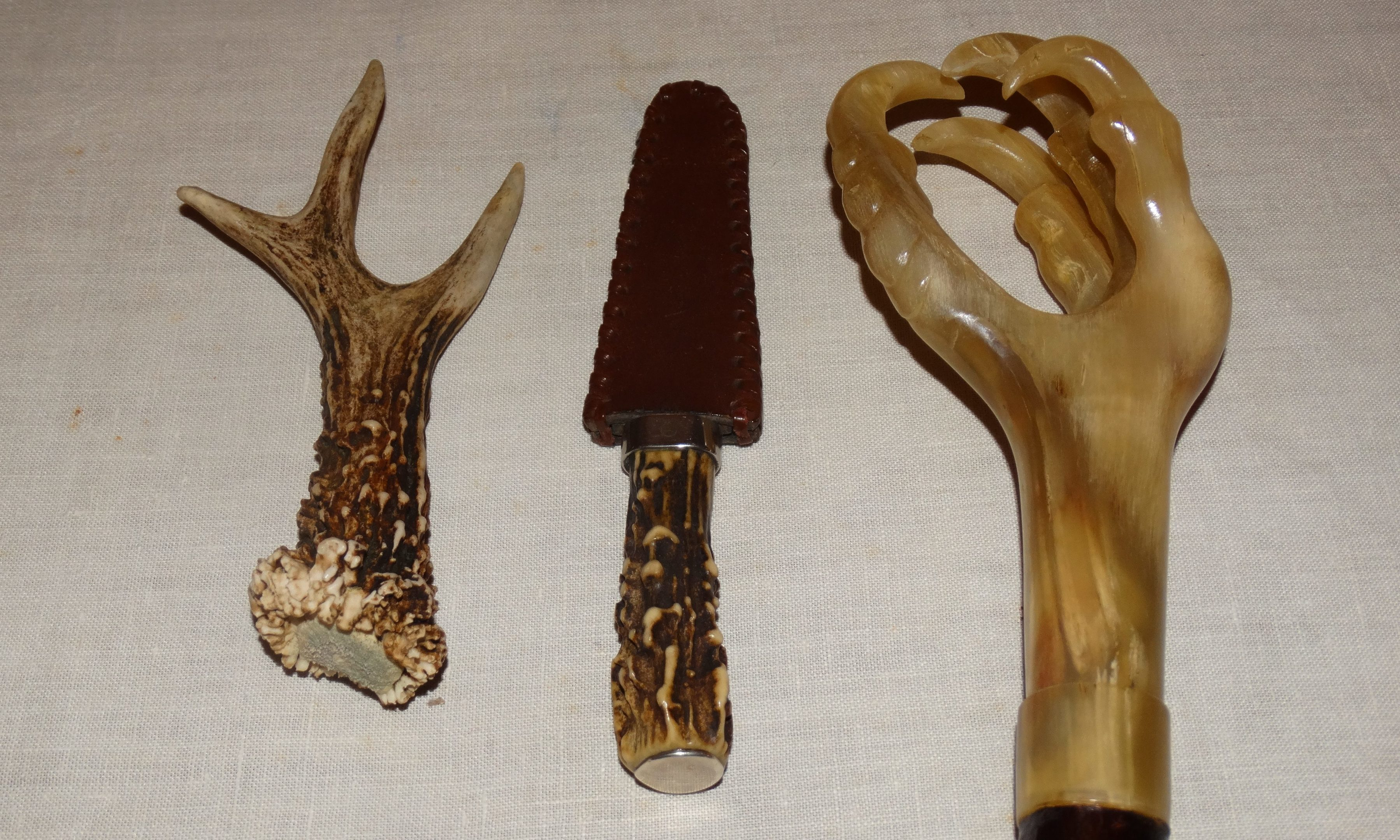 From left: the cast roe deer horn, my sgian dhu and the ram's horn thumbstick made by Norman Tulip.