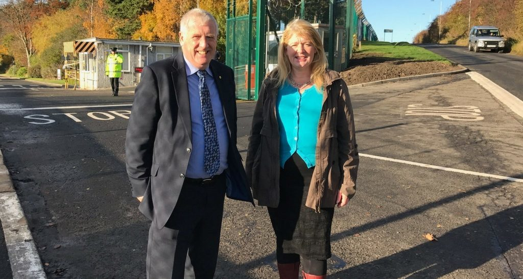 Douglas Chapman MP and Councillor Sharon Wilson at the entrance to HMS Caledonia