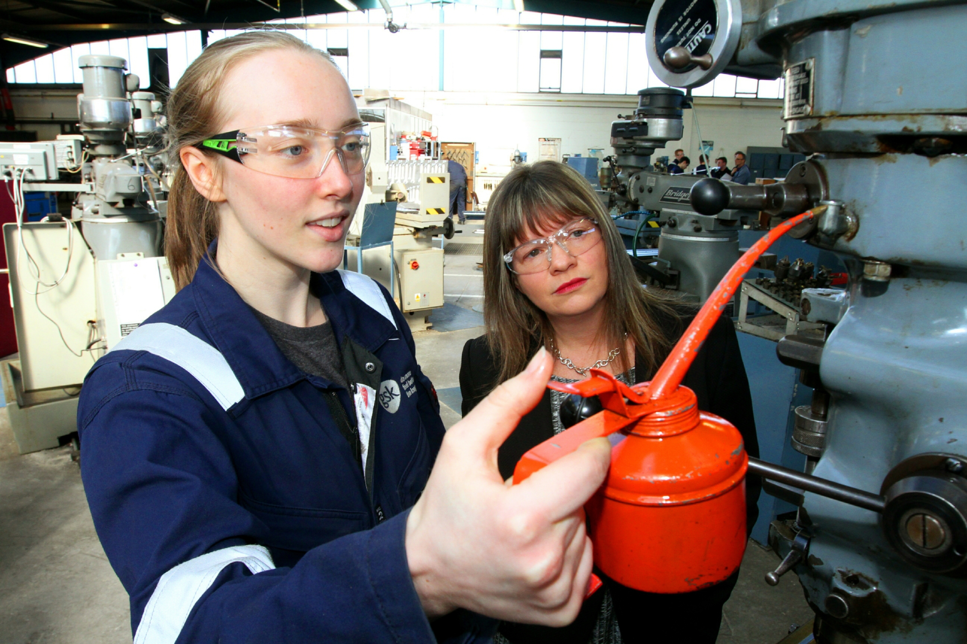 GlaxoSmithKline apprentice, 18 year old Kirsty Cant, with Sam Greer.