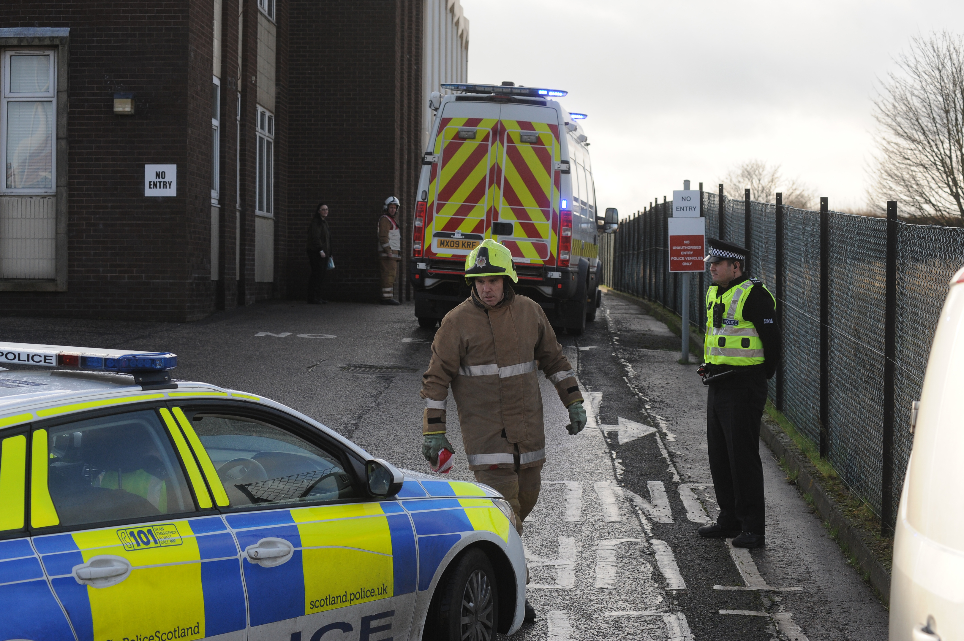 Levenmouth police station at the height of the drama on January 17