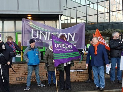 Unison Fife workers protesting against public service cuts outside Fife Council HQ in Glenrothes