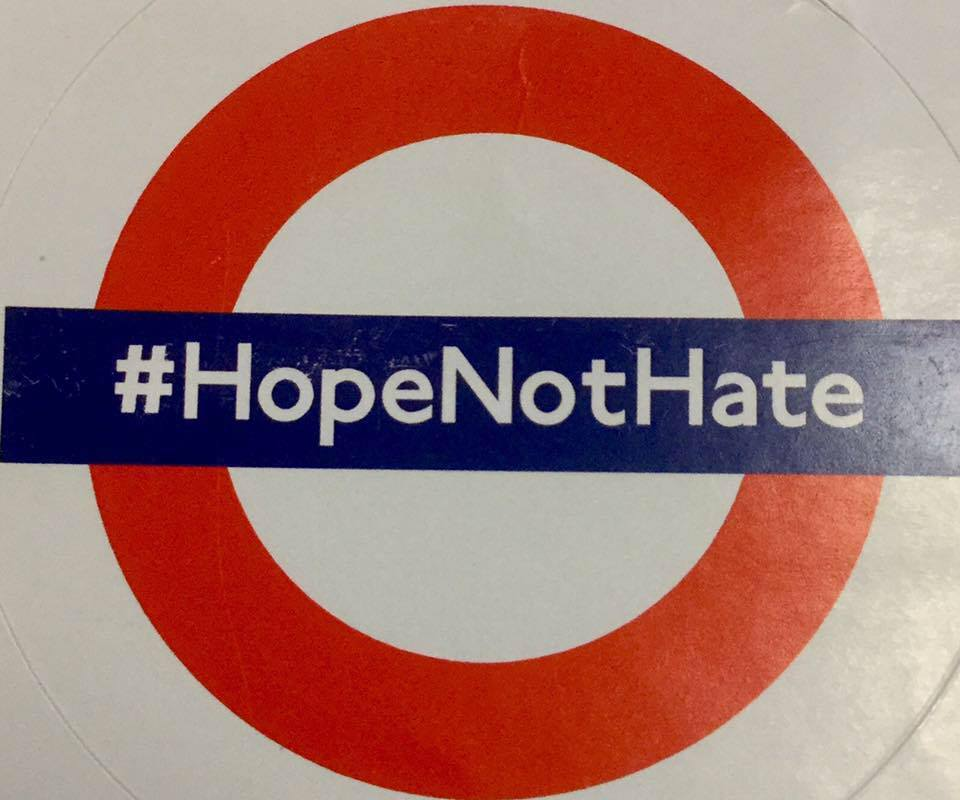 London Underground-inspired emblem for #HopeNotHate campaign, designed by Mike Haine's campaign team.