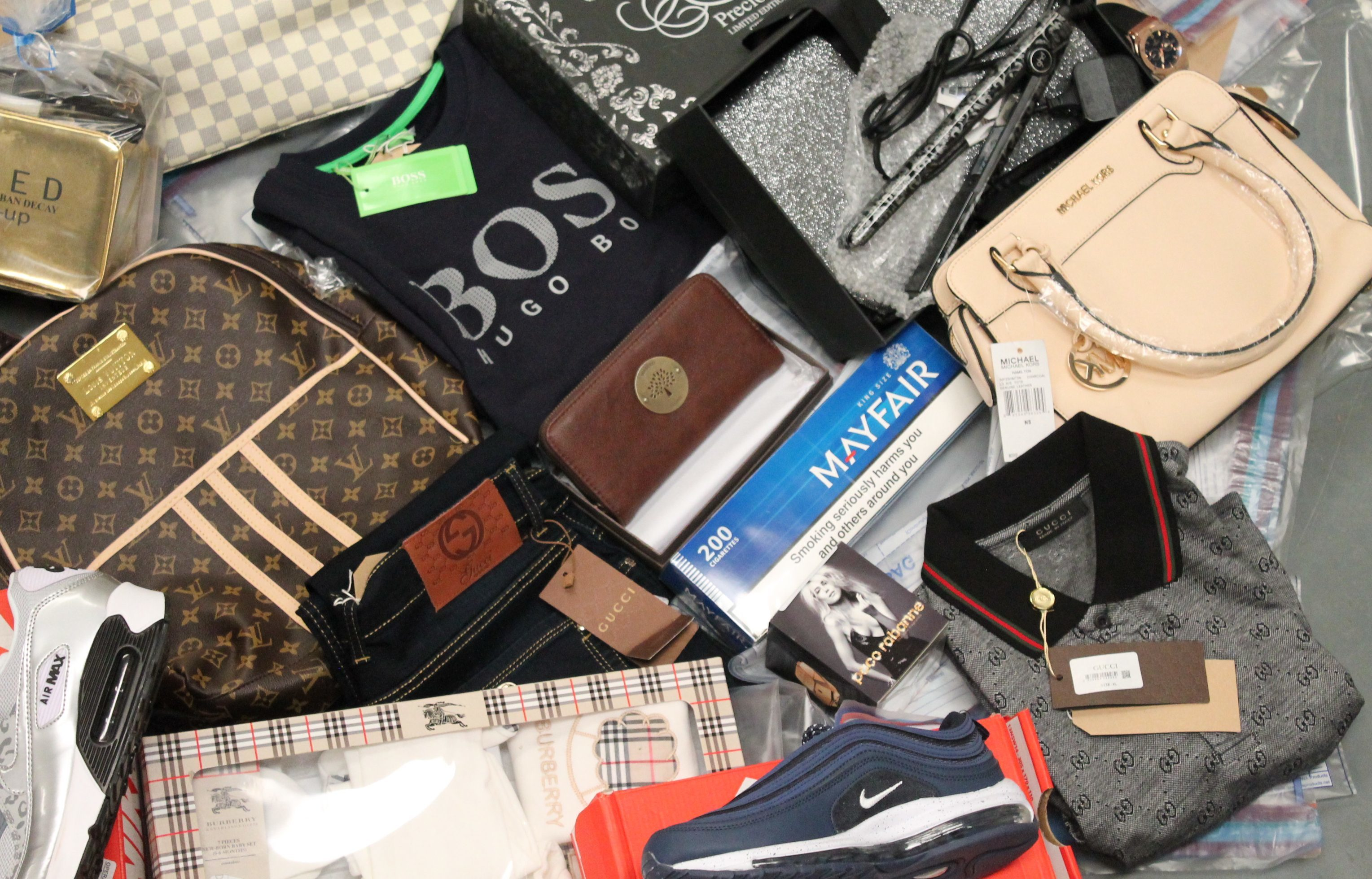Some of the fake goods removed from premises in the Fife raids.