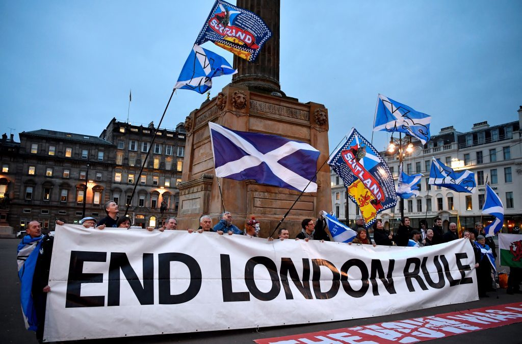 Independence supporters gather in George Square, Glasgow, in March 2017