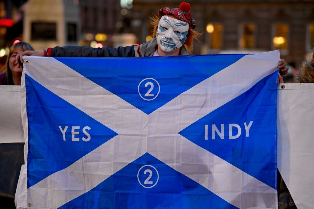 Independence supporters gathered in George Square, Glasgow.