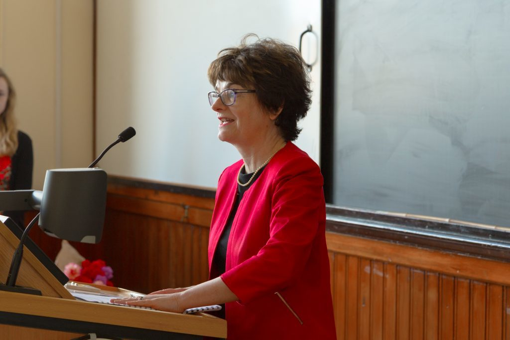 St Andrews University principal Professor Sally Mapstone speaks at an International Women's Day event last week