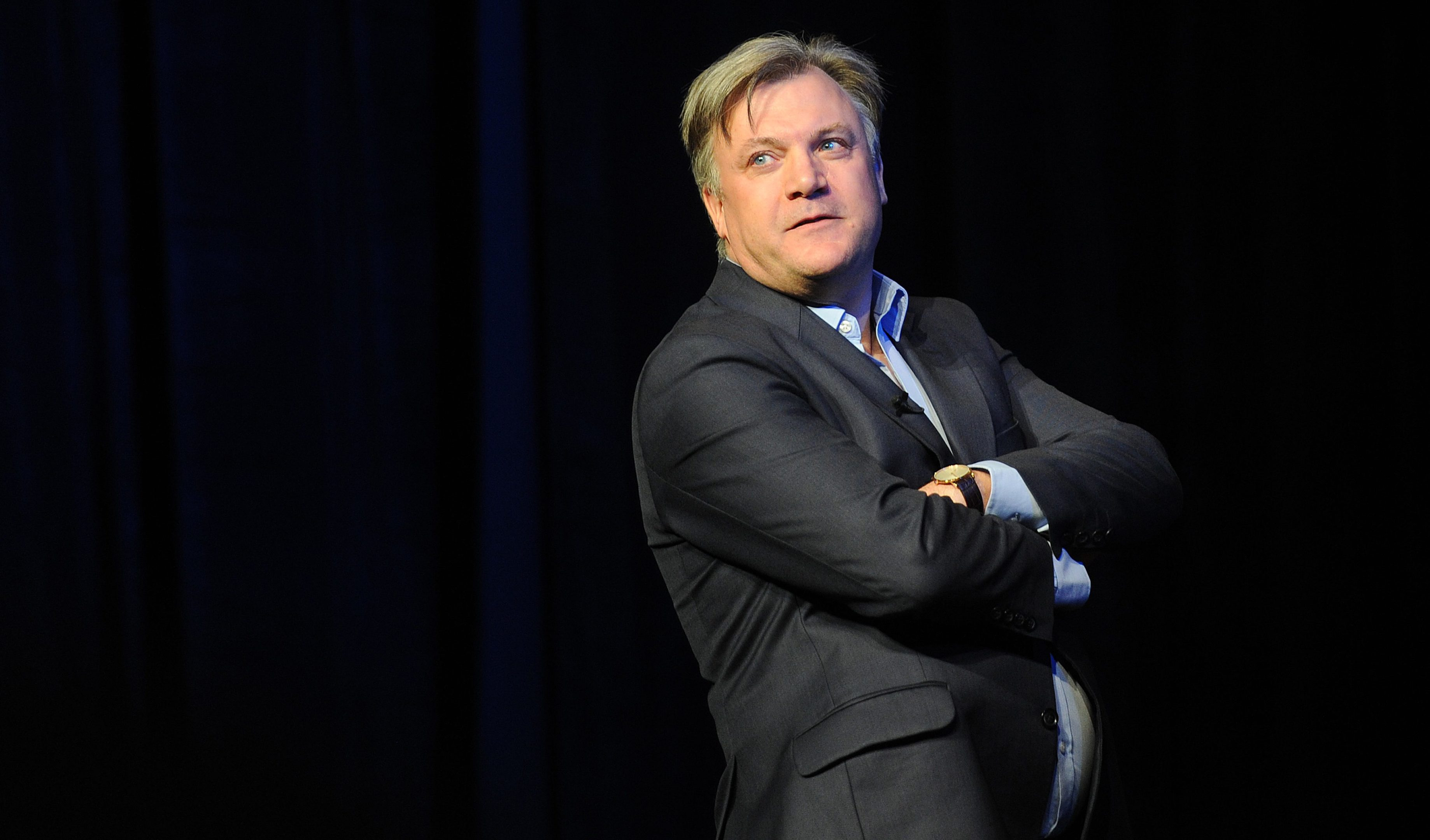 Ed Balls on stage at the Adam Smith Theatre during the Strictly Smith lecture.