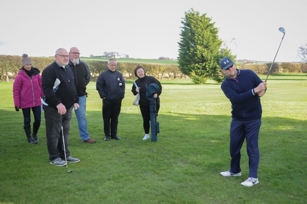 Gayle Ritchie, Derek Milne, Shaun Beazley, Stevie Cunningham, Shelly Cunningham and Jim Gales on the practice course.