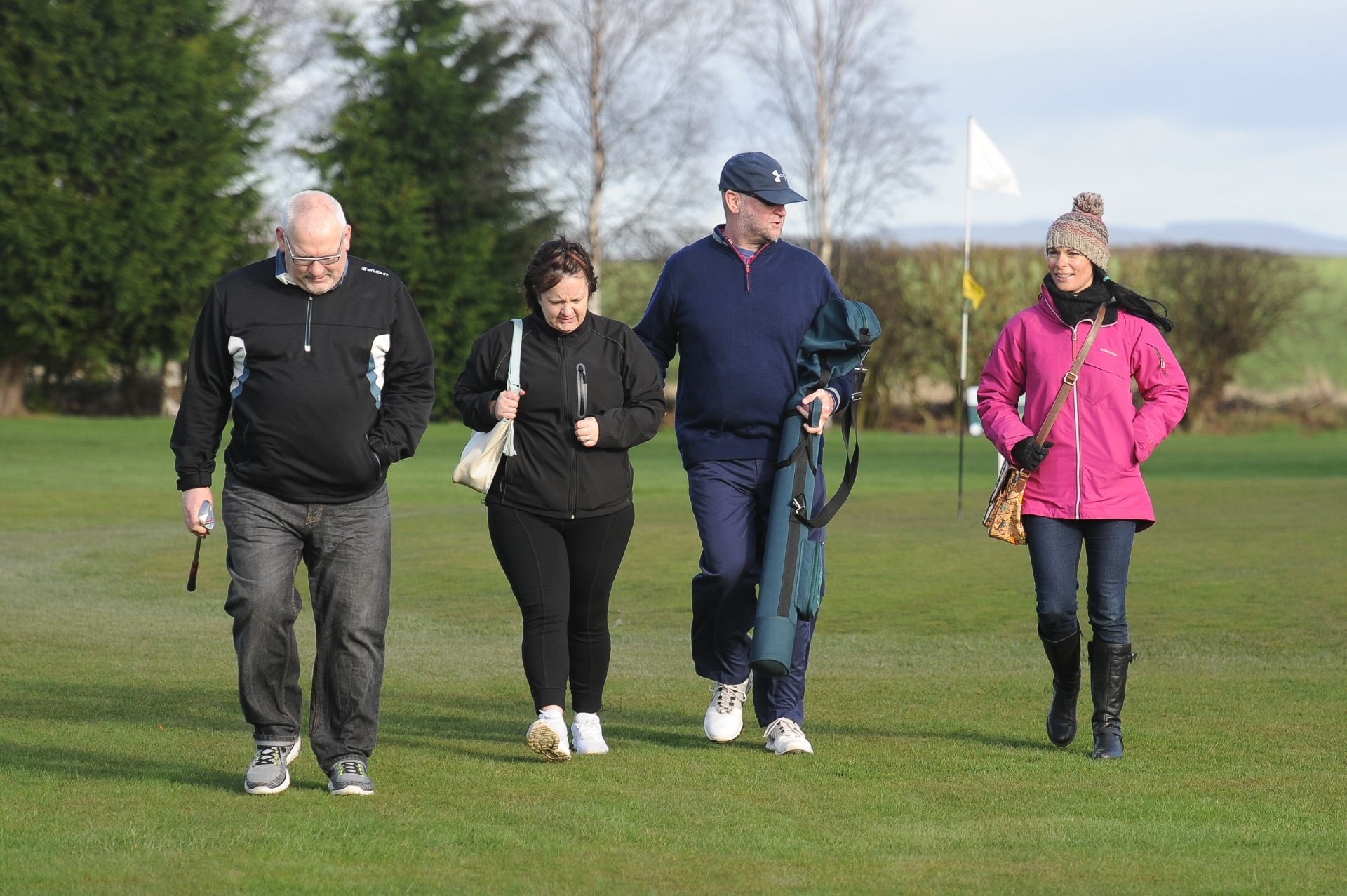 Derek Milne, Shelly Cunningham, Jim Gales and Gayle Ritchie on the practice course at Wellsgreen Golf Range, Windygates.