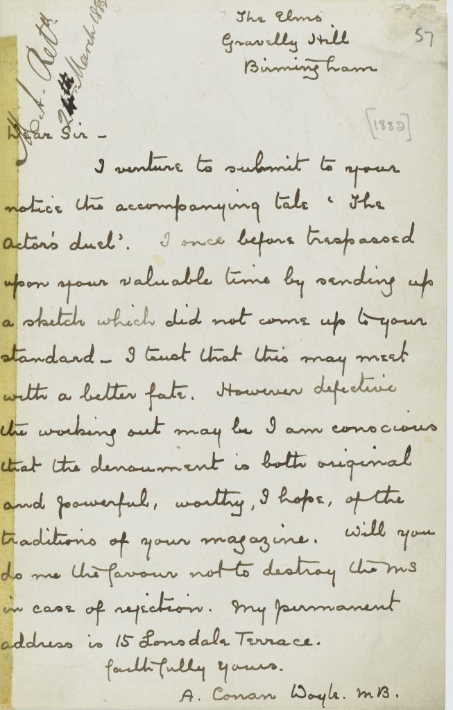 Letter to Blackwoods Magazine by Sir Arthur Conan Doyle.
