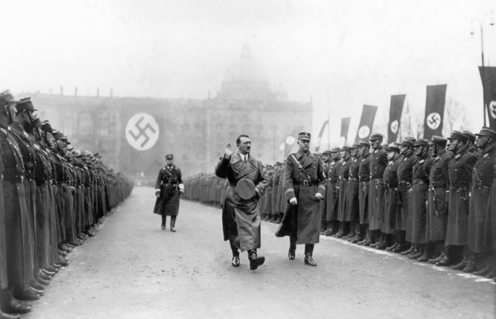 Chancellor Adolf Hitler inspecting a section of the Nazi Army in Berlin on November 8, 1937.