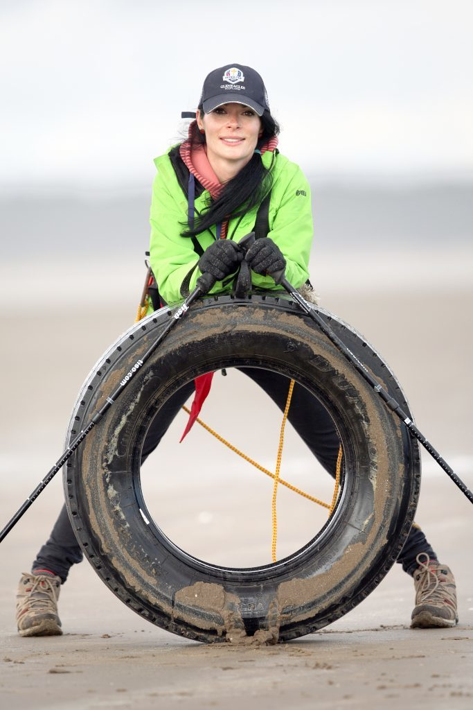 Gayle is exhausted after hauling her 40kg tyre!