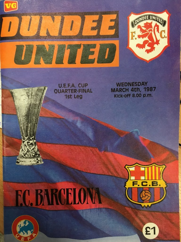The programme for the Dundee United v Barcelona match at Tannadice on March 4 1987