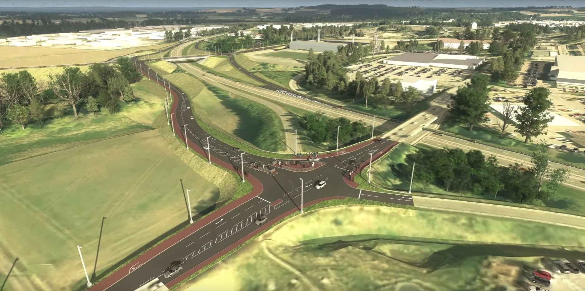 A birds-eye view of the new A9/A85 junction.