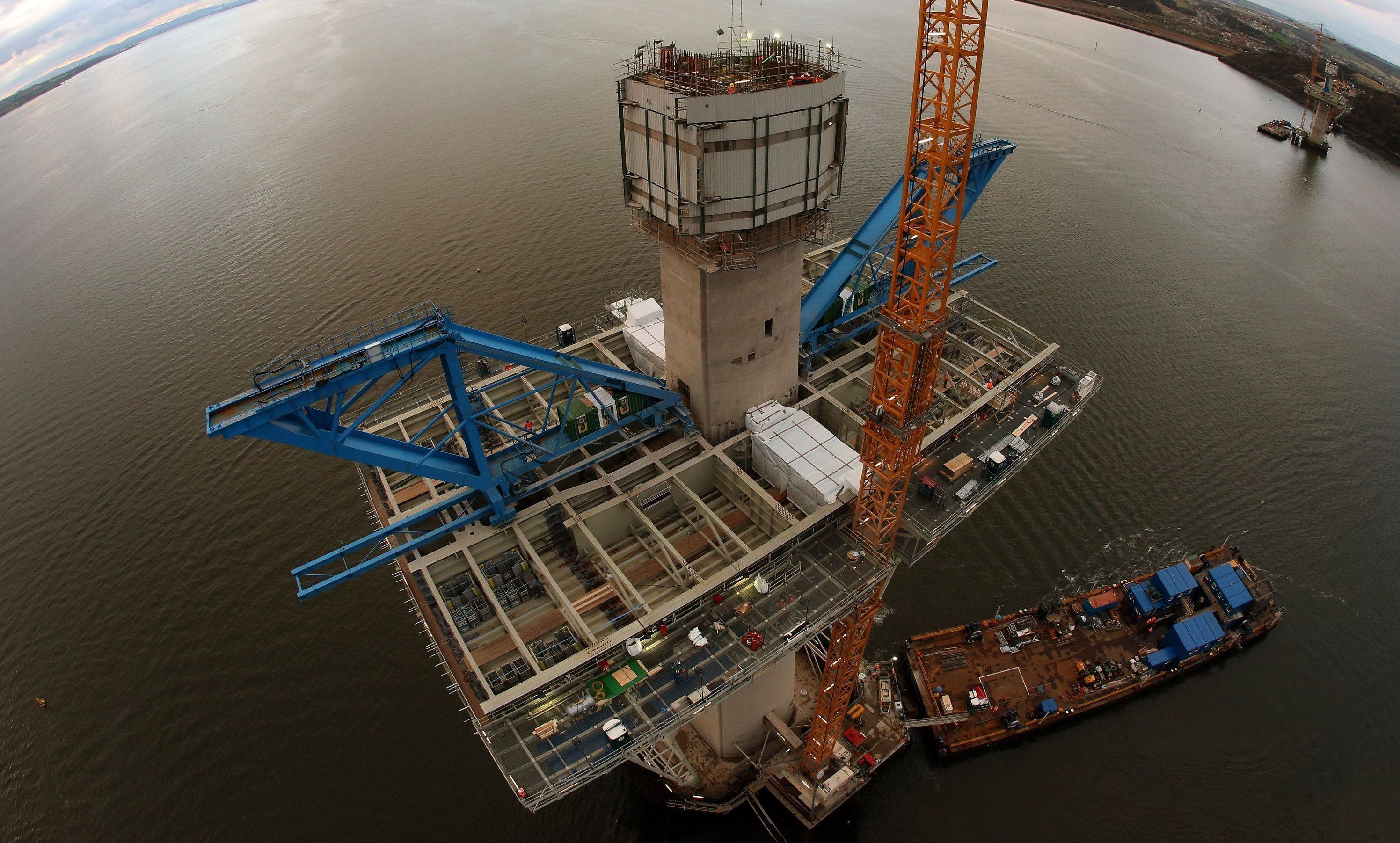 Construction crews working on the Queensferry Crossing's central tower on Beamer Rock in 2014.