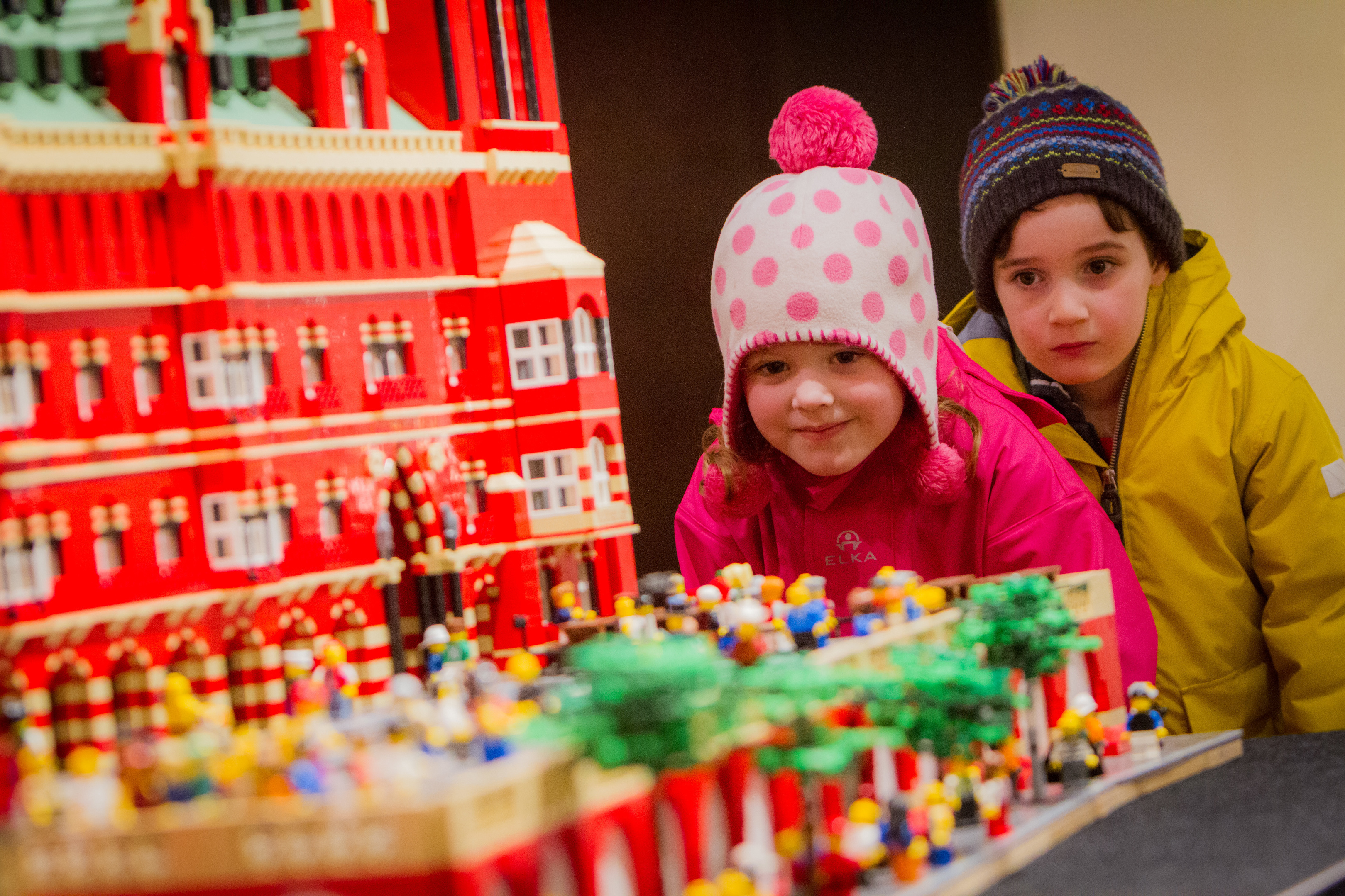 Seth Mendes (aged 4) and Grace McKeag (aged 4) from Viewlands Nursery, enjoying a visit to the Lego exhibit