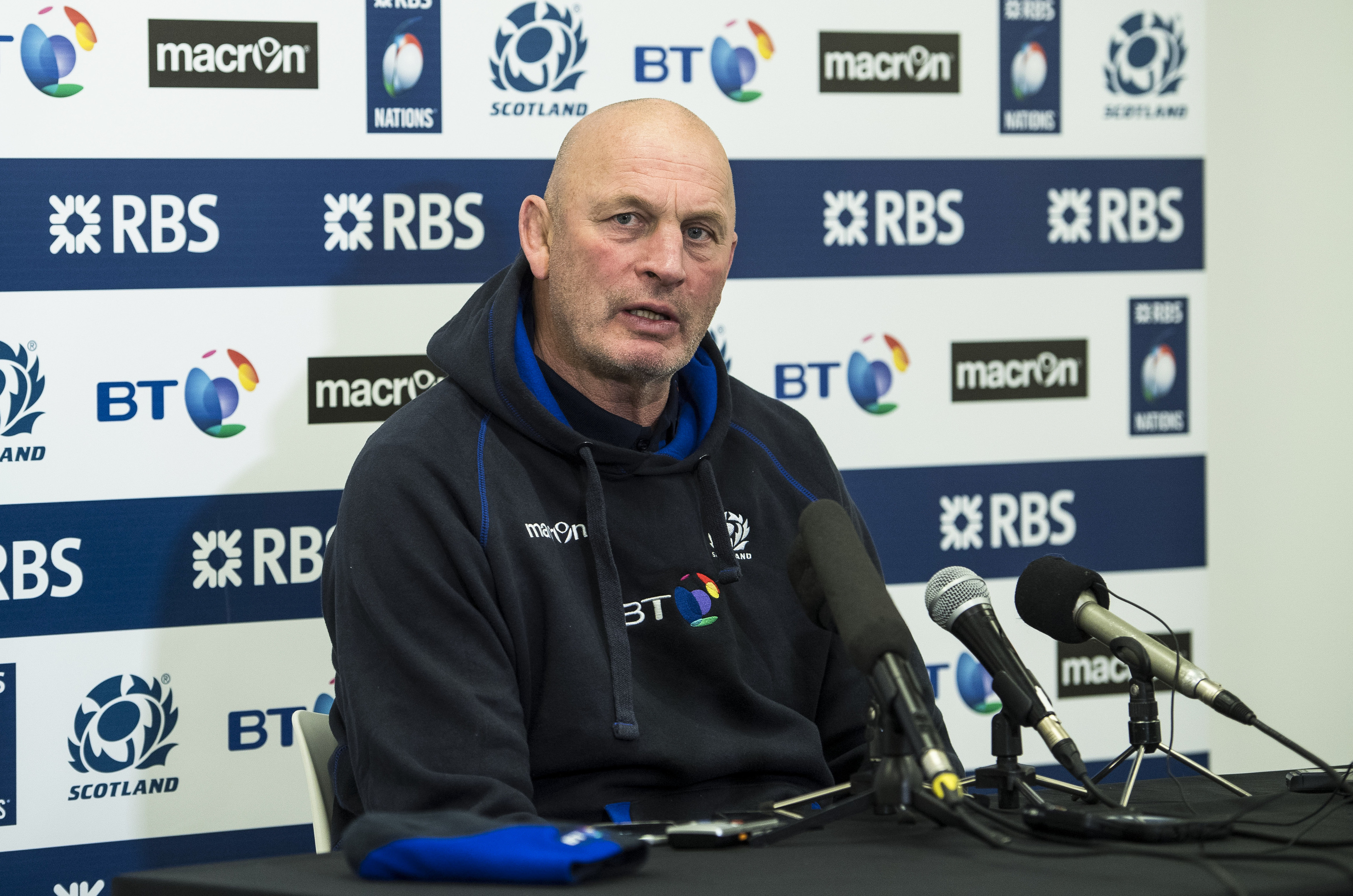 Scotland head coach Vern Cotter announces the team for Twickenham to the media.