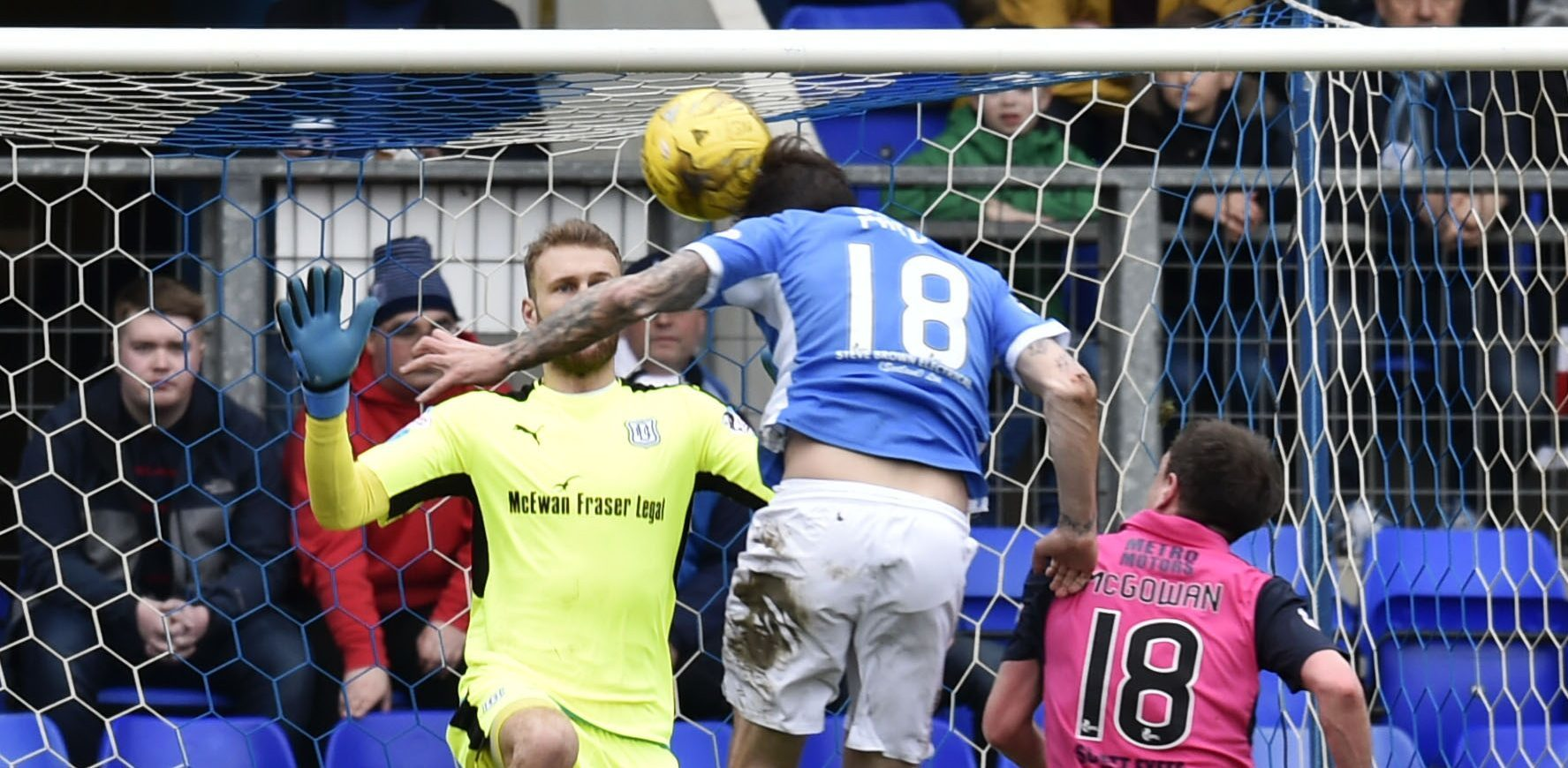Paul Paton heads in the St Johnstone second.