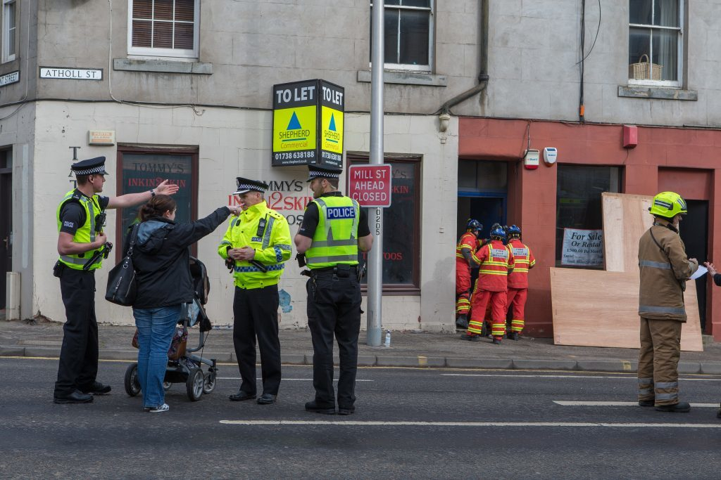 Courier News - Perth - Jamie Buchan - Collapsed Stairwell Story - Perth - Atholl Street stairwell collapse caused major emergency response this morning. - Picture Shows: Emergency services on scene in Atholl Street, Perth - Wednesday 29 March 2017
