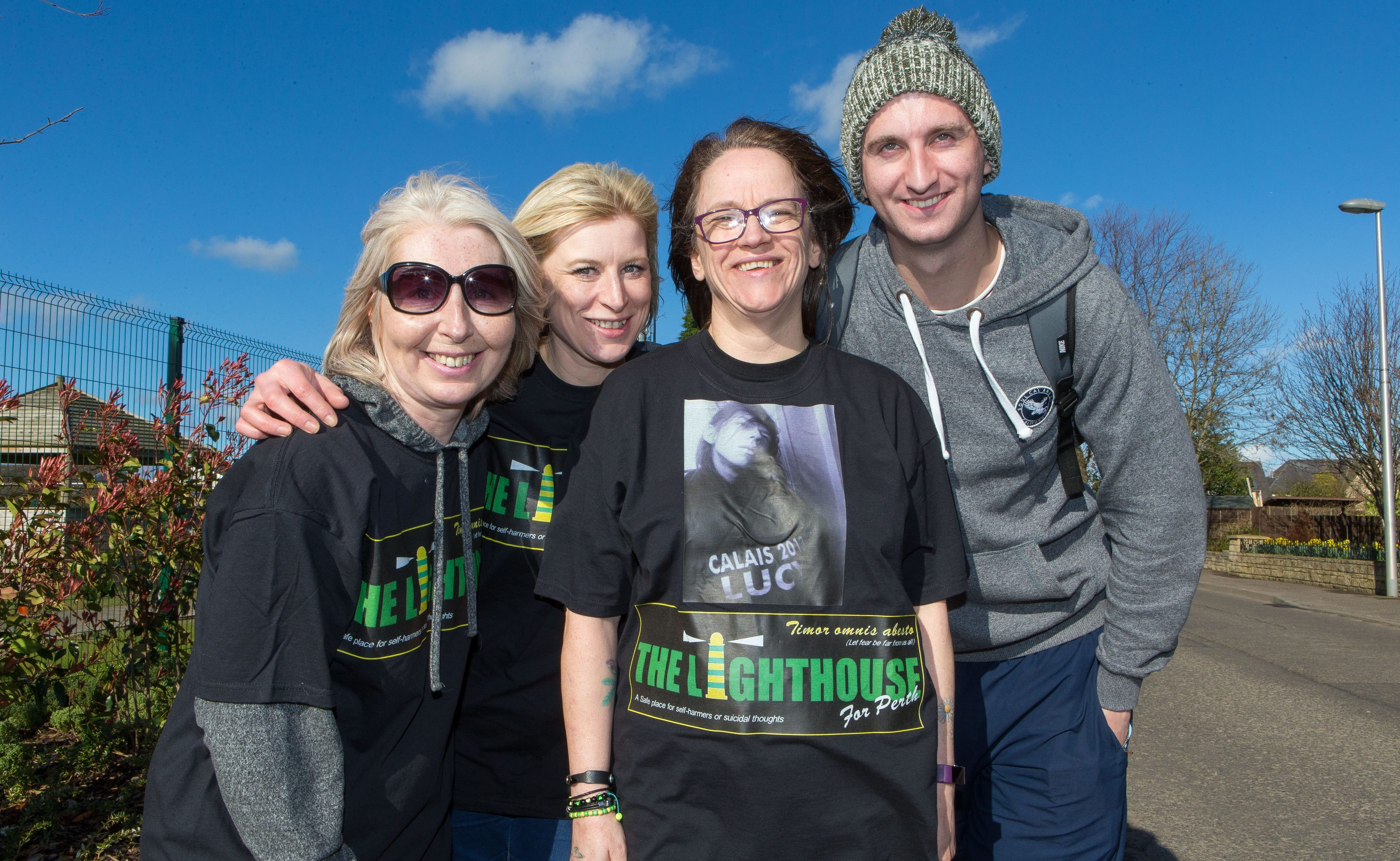 Gwen Buchan (second from left) with friends Lorna Duthie, Lisa Cassidy and Fraser Belford at Errol during their walk.