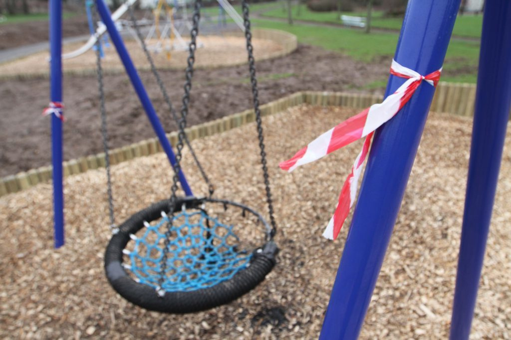 One of the swings was left unusable after being vandalised.